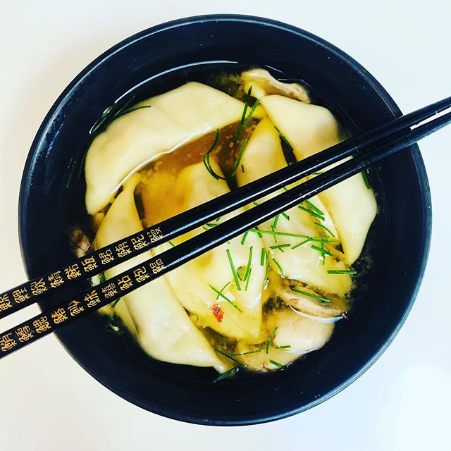 Dumpling Soup. This literally took 5 mins to throw together and was inspired by a member, with just a little tweaking.  I made this during a bout of some pretty serious man flu (I'm told the beginnings of a cold) and my body instantly felt better for it. No lie. Winters coming so handy to have these ingredients on standby. Make a miso base, add a little stock (chicken or vegetable), a dash of soy sauce, a little bit of garlic and ginger, sliced mushrooms, chives (grow them yourself), a sprinkle of chilli flakes and a bag of frozen dumplings. Take a photo. Impress your friends. Be cool for a day. 👍🏻#fitfood #dumplingsoup #healthyfoodblog #gymfood #homecook