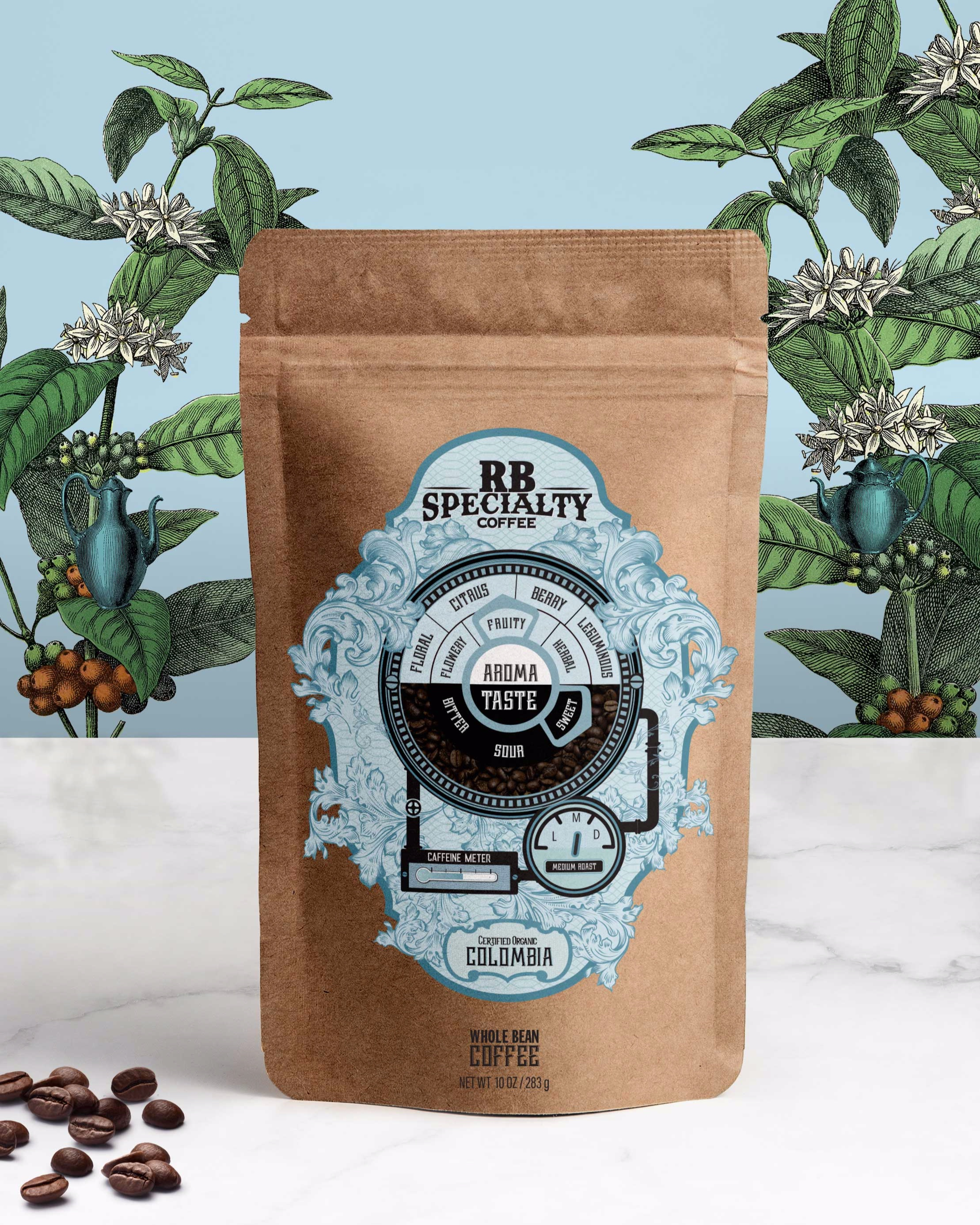 Part of the design brief called for the packaging designer to create a unified look for four different types of coffee packaging (one for each country). This is the graphic Design for the standup pouch for the Colombian blend.