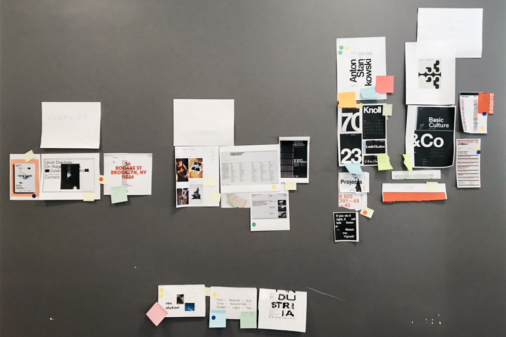 Physical moodboard: identifying four different directions for the visual design of the website.