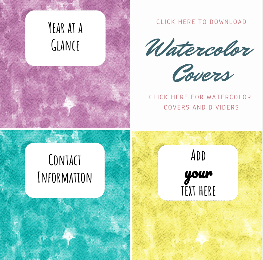 PRINTABLE Watercolor covers: Click the image to download the printable watercolor covers and dividers.