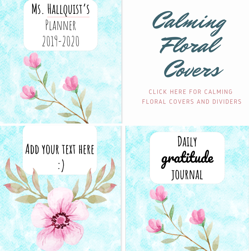 PRINTABLE Calming Florals covers: Click the image to download the printable Calming Floral covers and dividers.