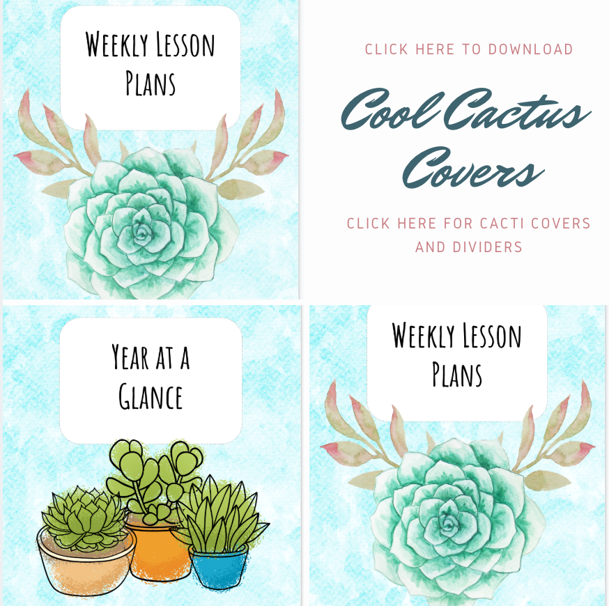 PRINTABLE Cool Cactus covers: Click the image to download the printable Cool Cactus covers and dividers.
