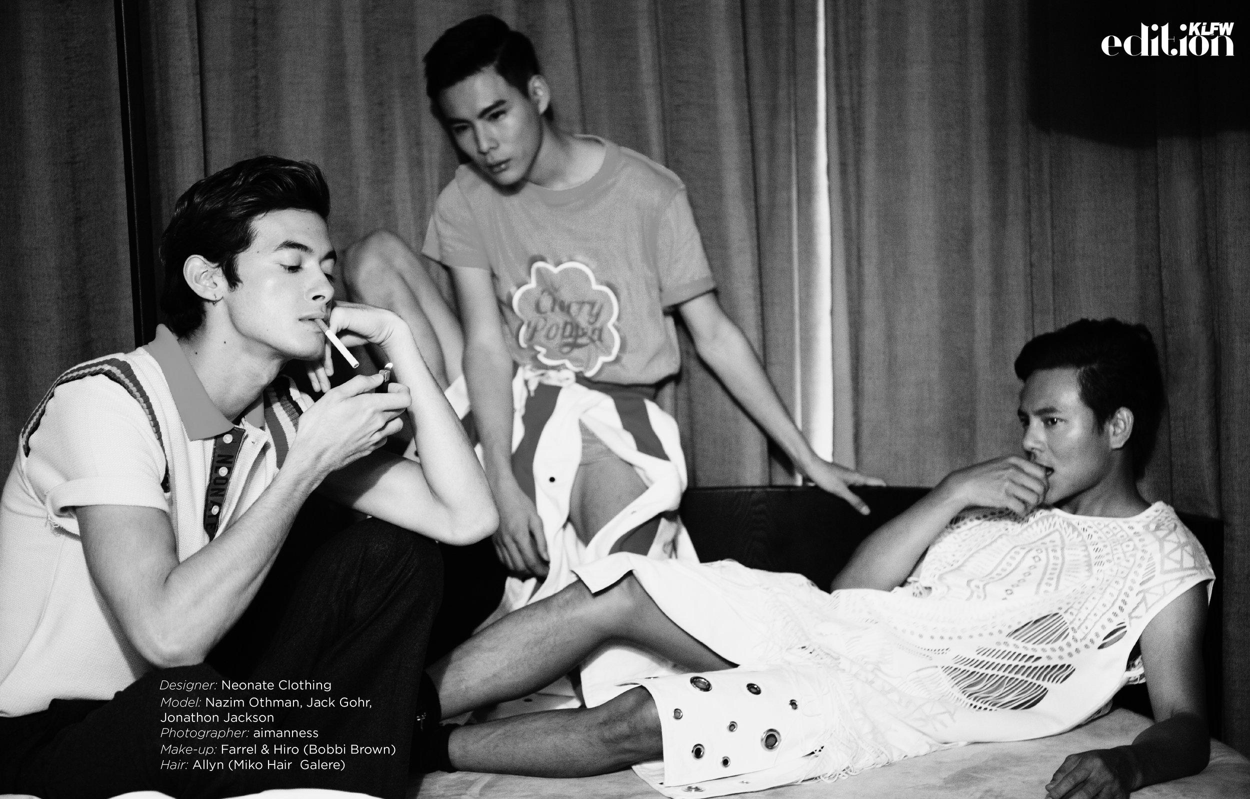 Designer:  Neonate Clothing  Model:  Nazim Othman  ,  Jack Gohr  ,  Jonathon Jackson  Photographer:  Aimanness   Make-up: Farrel & Hiro (  Bobbi Brown ) Hair: Allyn (  Miko Hair Galere  ) Location:  Mov Hotel