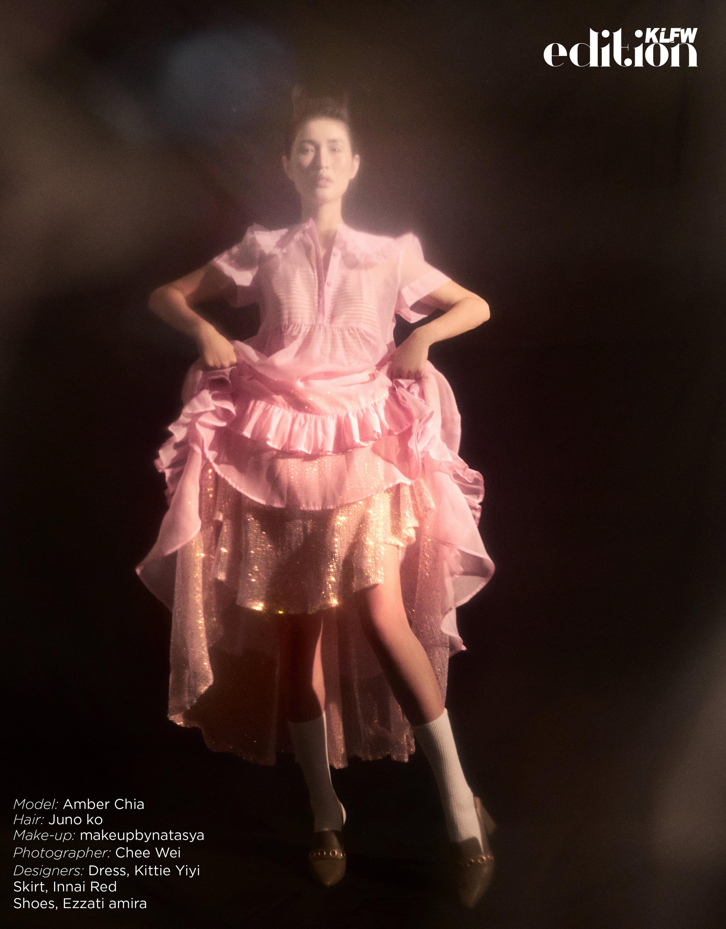 Hair:  Juno ko , Make-up:  makeupbynatasya , Photographer:  Chee Wei , Designers: Dress,  Kittie Yiyi  , Skirt Innai Red , Shoes,  Ezzati Amira