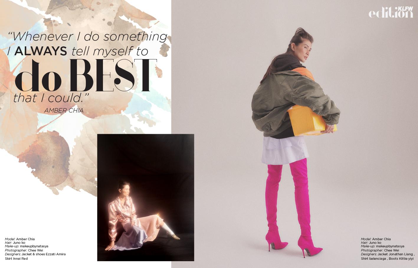 Model: Amber Chia Hair:  Juno ko , Make-up:  makeupbynatasya , Photographer:  Chee Wei , Designers: Left / Jacket & shoes Ezzati Amira Skirt Innai Red, Right / Jacket  Jonathan Liang , Boots  Kittie Yiyi  , Shirt  Balenciaga