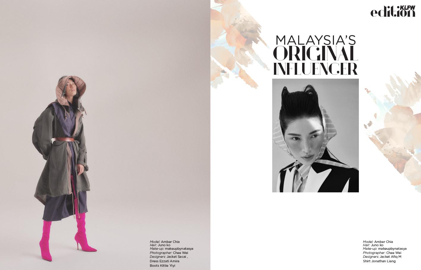 Model: Amber Chia Hair:  Juno ko , Make-up:  makeupbynatasya , Photographer:  Chee Wei , Designers: Left / Jacket  Sacai  Dress  Ezzati Amira  , Boots  Kittie Yiyi , Right / Jacket  Afiq M , Shirt  Jonathan Liang