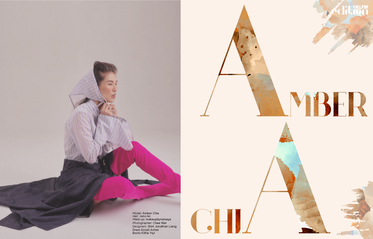 Model: Amber Chia Hair:  Juno ko , Make-up:  makeupbynatasya , Photographer:  Chee Wei , Designers: Shirt  Jonathan Liang  ,Dress  Ezzati Amira , Boots  Kittie Yiyi