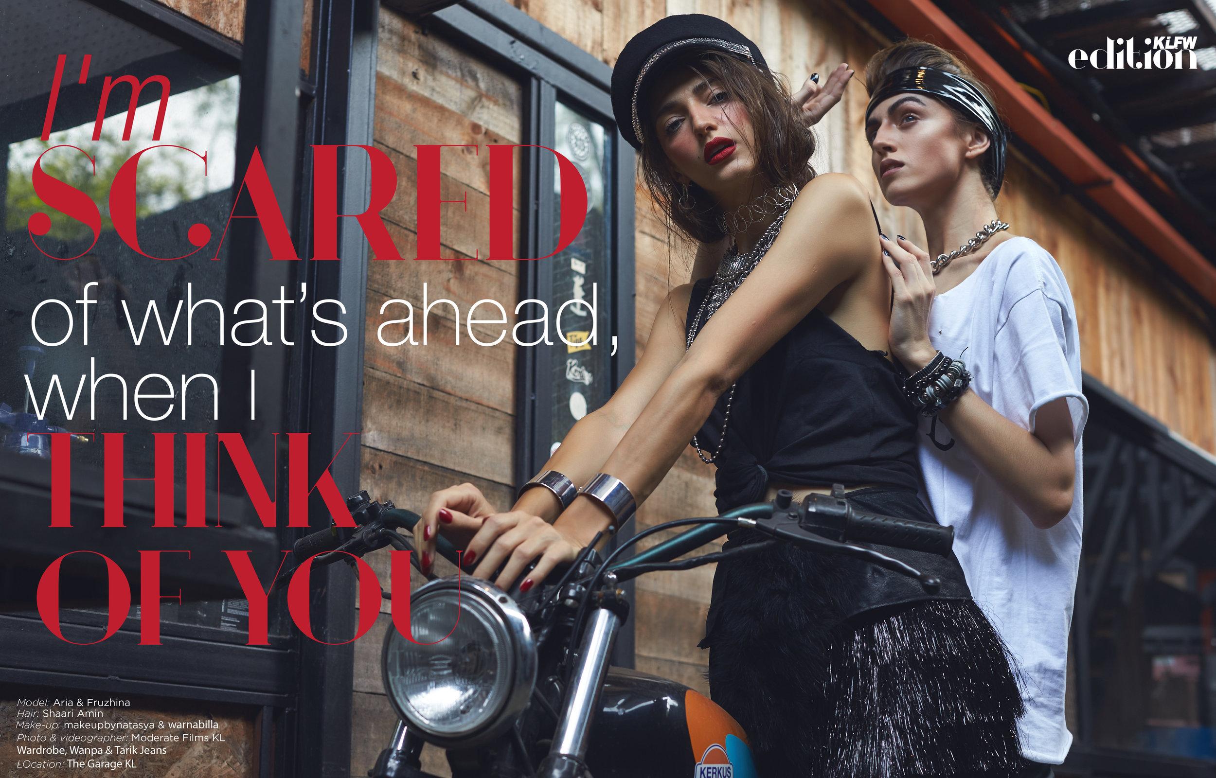 Models:  Aria  &  Fruzh i , Hair:  shaari_amin  , Makeup:  makeupbynatasya  &  warnabilla , Stylist:  nazlivingastyle  ,  Wardrobe ,  Wanpa  &  Tarik Jeans , Photo & Videographer:  Moderate Films KL , Location:  The Garage KL