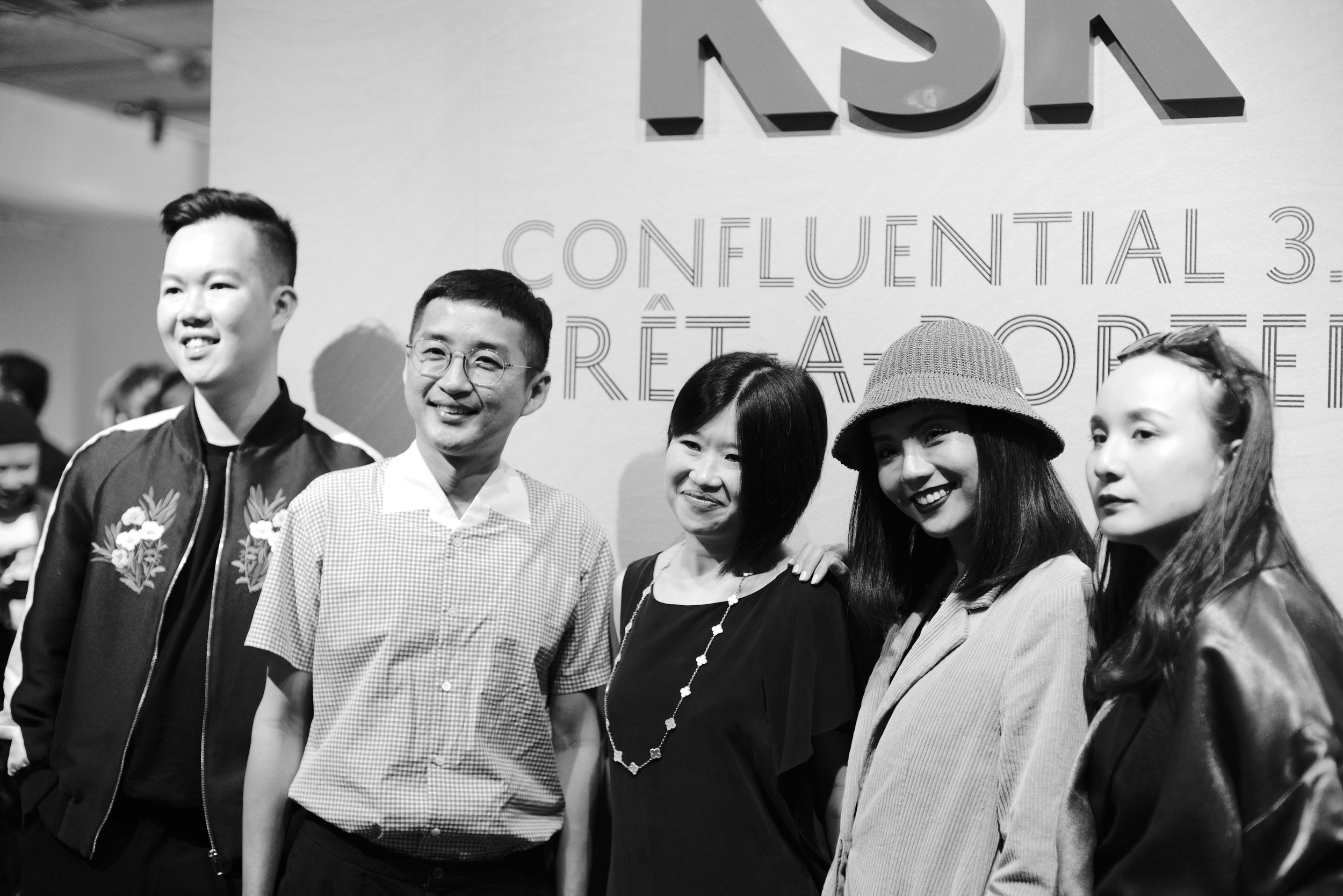 KSK Group CEO  Joanne Kua  (centre) with designers  Jonathan Liang ,  Khoon Hooi ,  Kittie Yiyi  and  Ezzati Amira .