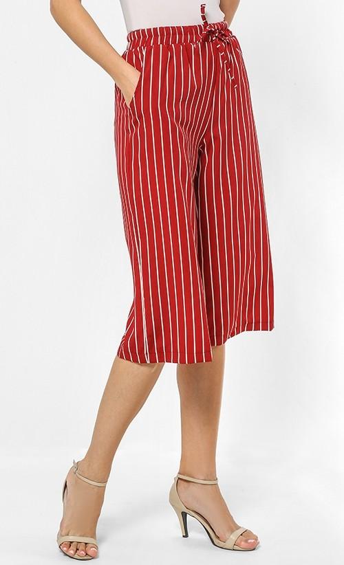 Striped pants Red ,FashionValet