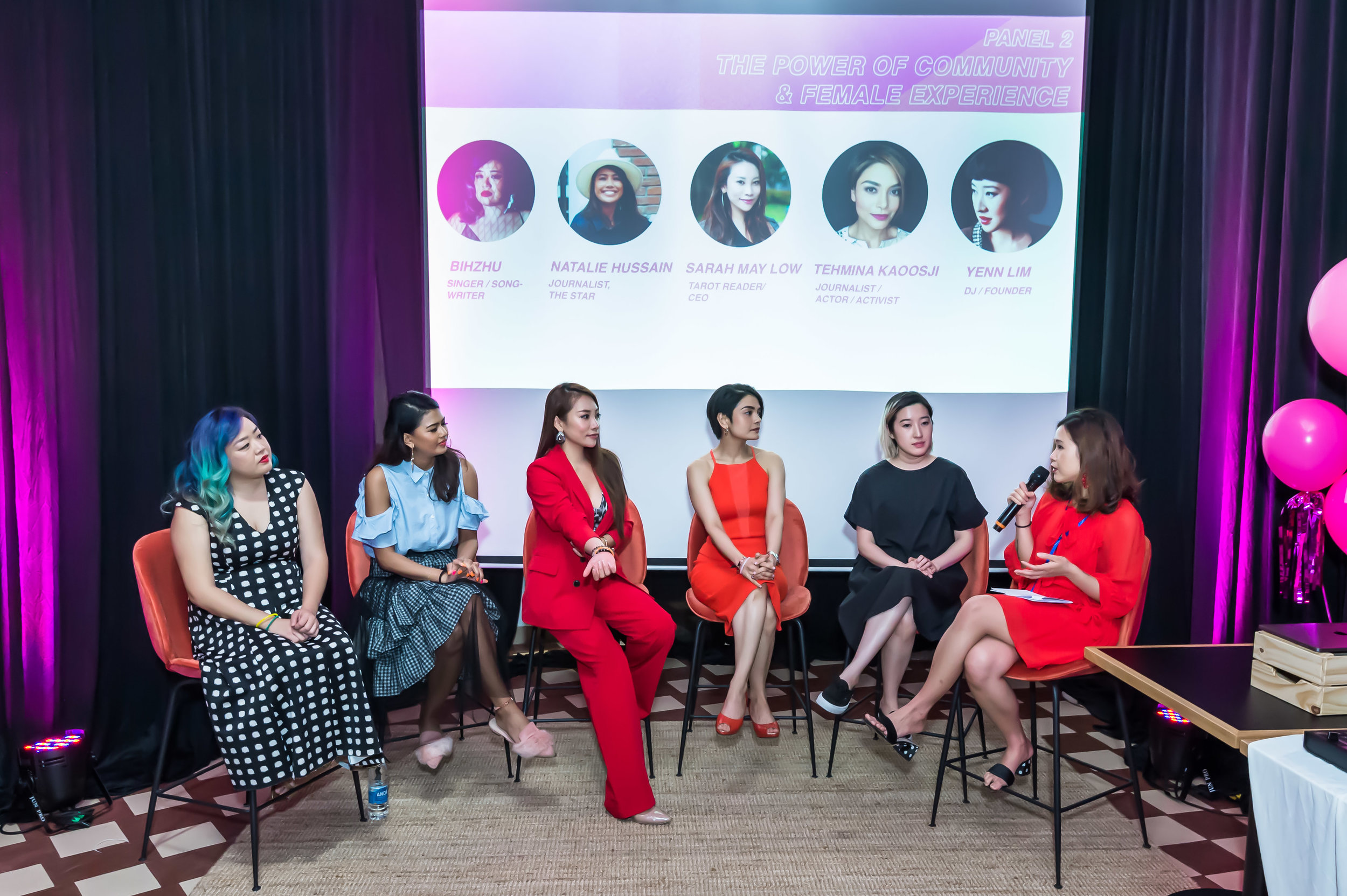 BIHZHU  Singer/Songwriter  NATALIE HUSSAIN  Journalist, The Star  SARAH MAY LOW  Tarot Reader/CEO of Dragon Phoenix Media & Events TEHMINA  Tehmina KAOOSJI  Journalist/Actor/Activist  YENN LIM  DJ/Founder of LEN by Yenn Lim Moderated by  Melly Ling , Brand Manager of  Swingvy