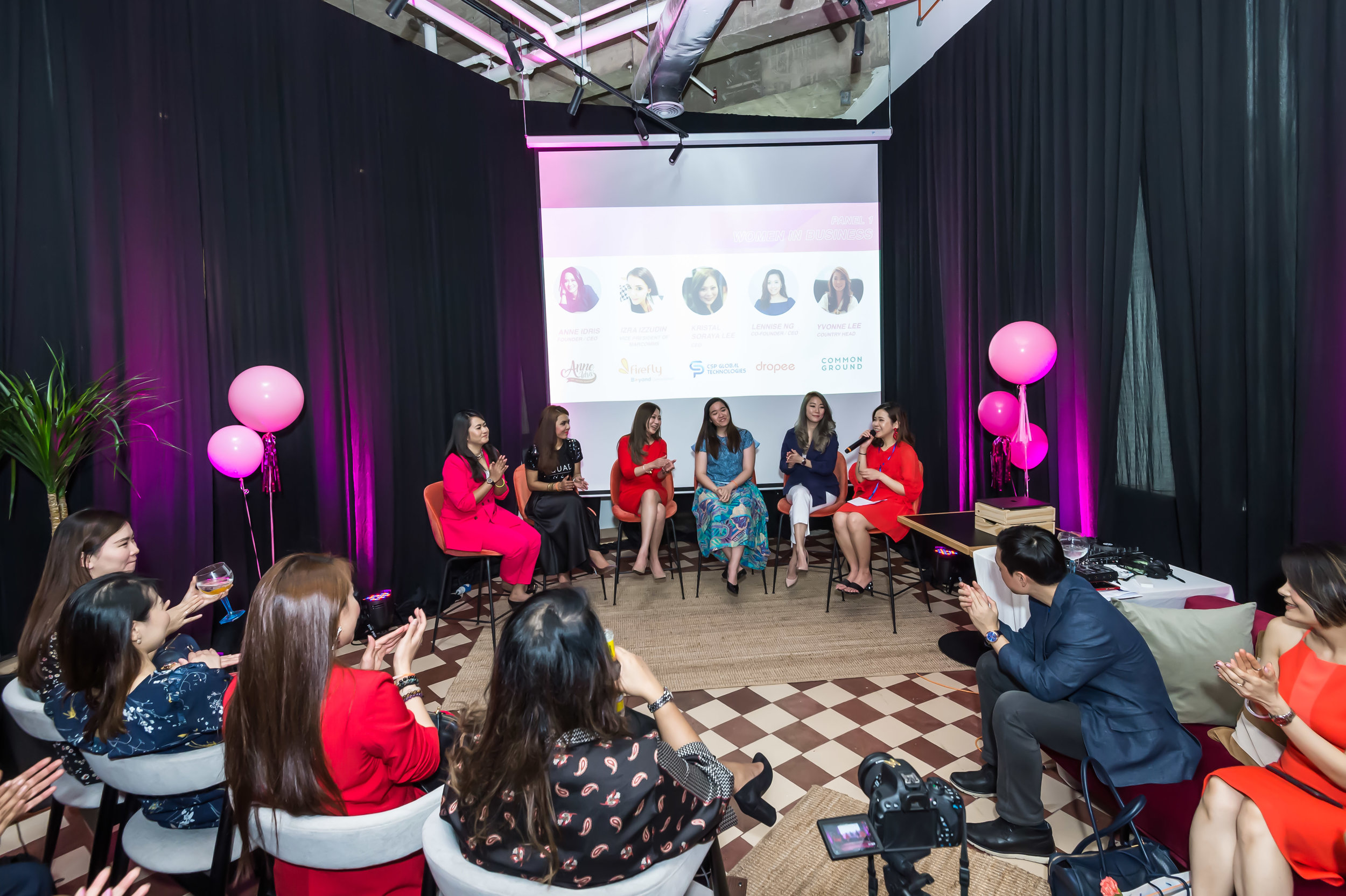 ANNE IDRIS  Founder/CEO of My Mum's Bakery  IZRA IZZUDDIN  Vice President, Marketing & Communications of Firefly KRISTAL  SORAYA LEE  CEO of CSP Global Technologies  LENNISE NG  Co-Founder/CEO of Dropee  YVONNE LEE  Country Head of Common Ground Moderated by  Melly Ling , Brand Manager of  Swingvy