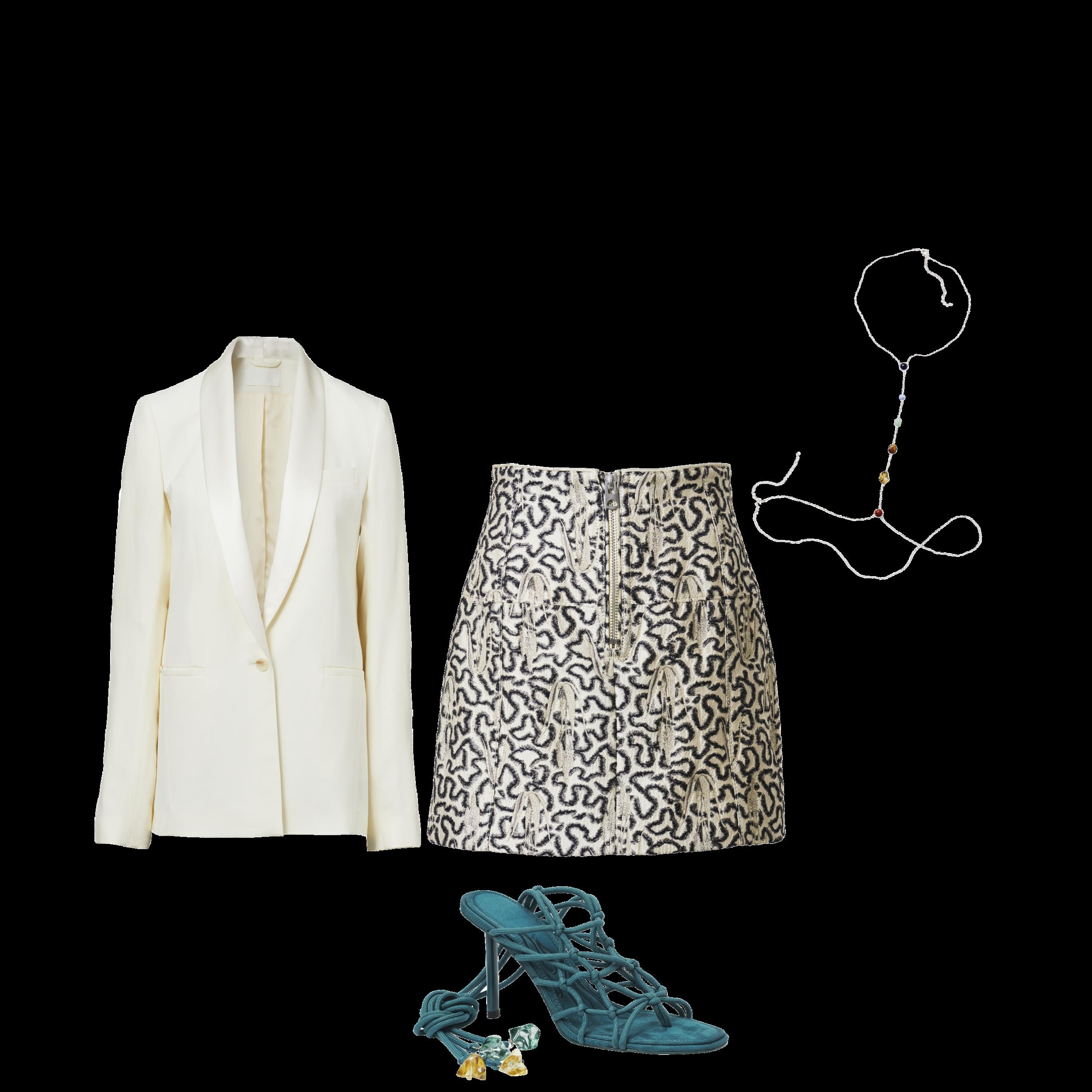 Blazer - RM 549.95 Printed Skirt - RM 279.95 (2) Strappy Heels - RM 374.95