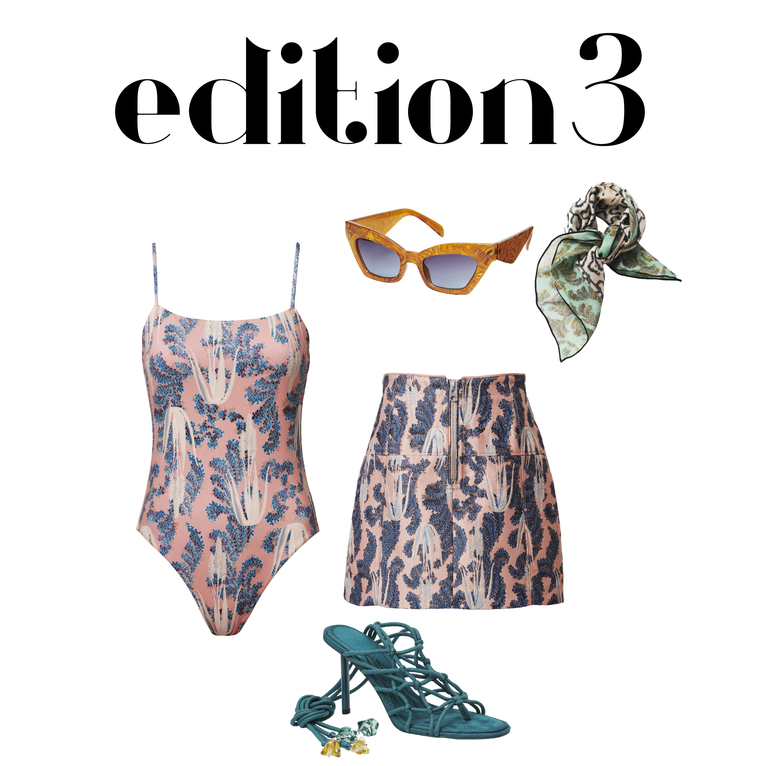 Small Scarf (Pink) - RM 84.95 Sunglasses - RM 109.95 Printed Skirt - RM 279.95 Printed Swimsuit - RM 184.95 (2) Strappy Heels - RM 374.95