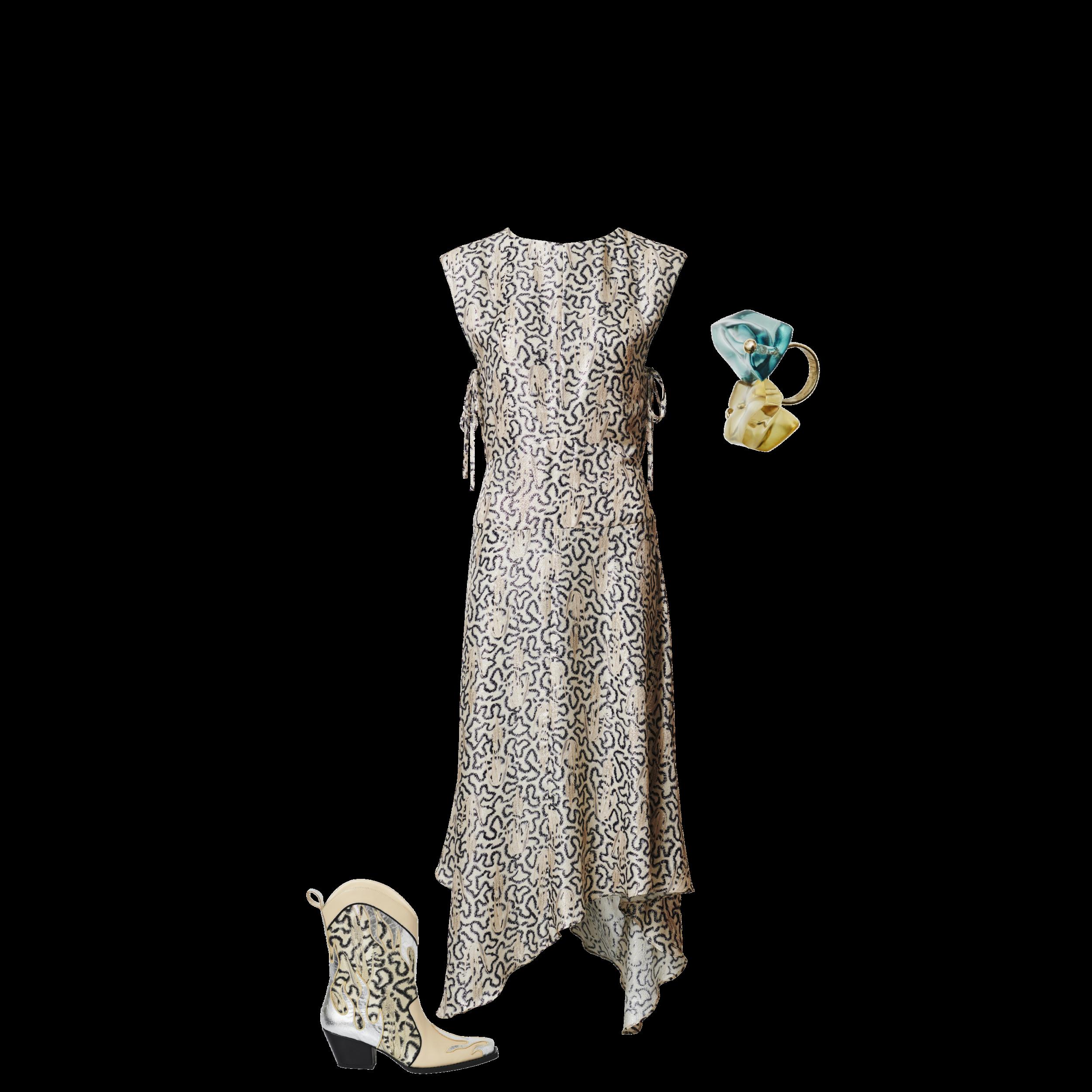 Ring - RM 84.95 Boots - RM 549.95 Metallic Dress - RM 469.95