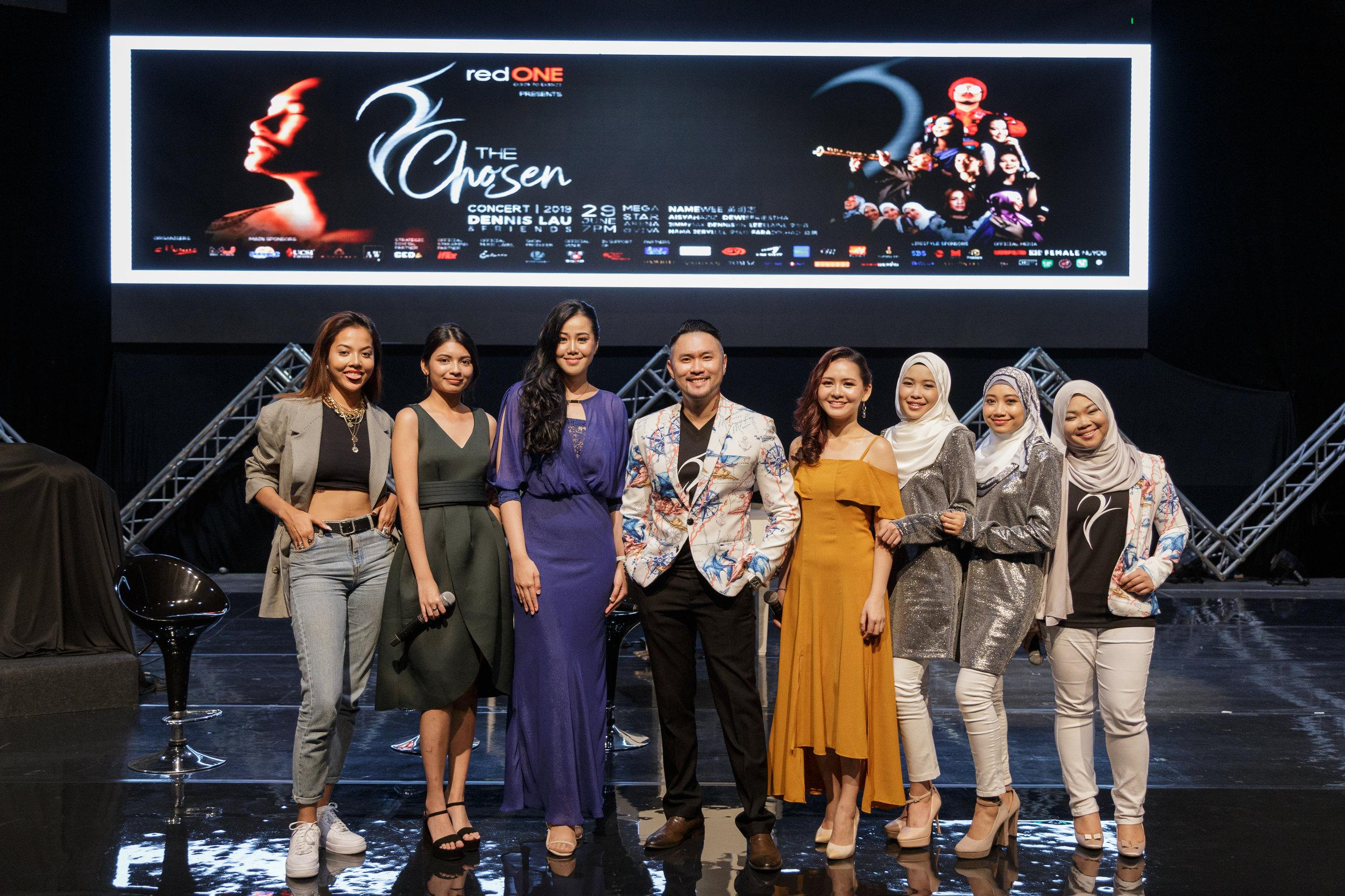 (Left to right) Aisyah Aziz, Jeryl Lee, Dewi Seriestha, Dennis Lau, Lee Elaine, NAMA and Fara Dolhadi.