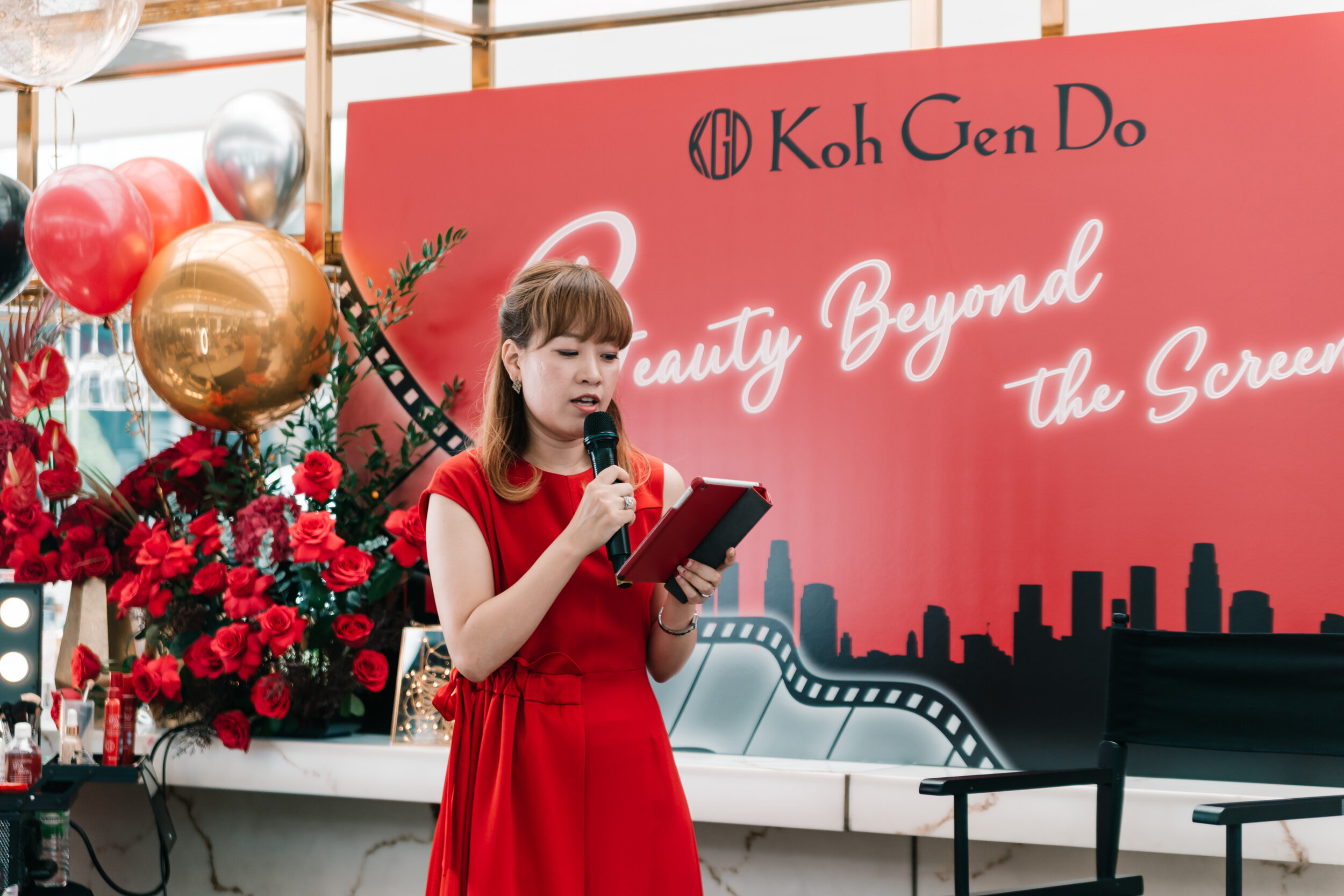 Ms Yunje Jang, General Manager of Overseas Business Department, Koh Gen Do   delivers a speech on the history of Koh Gen Do, a cosmetic line that has been credited in over 840 international films which emphasises restorative beauty.