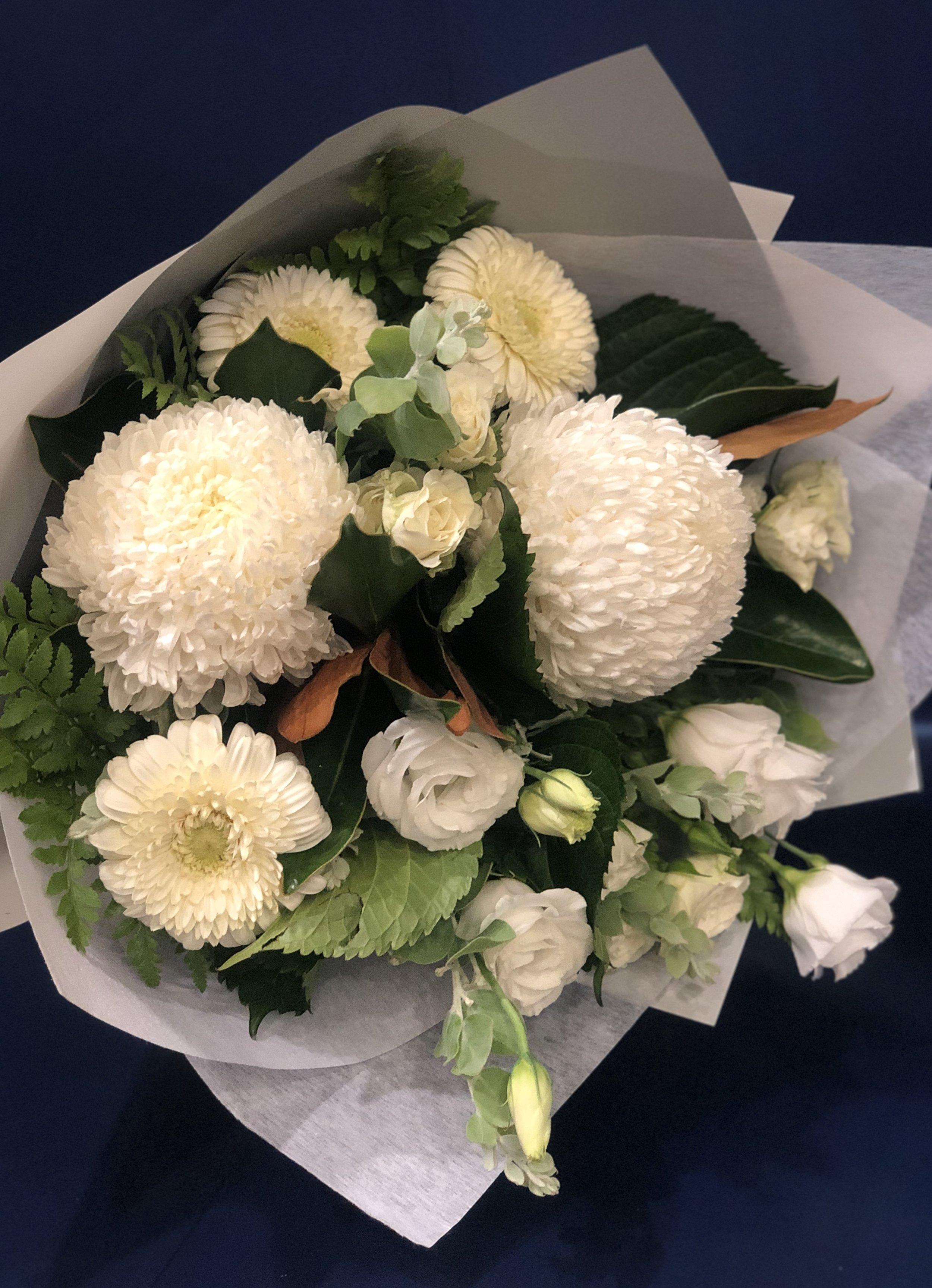 The Seasonal White Bouquet Anthos Flowers Gungahlin Florist Next To Coles