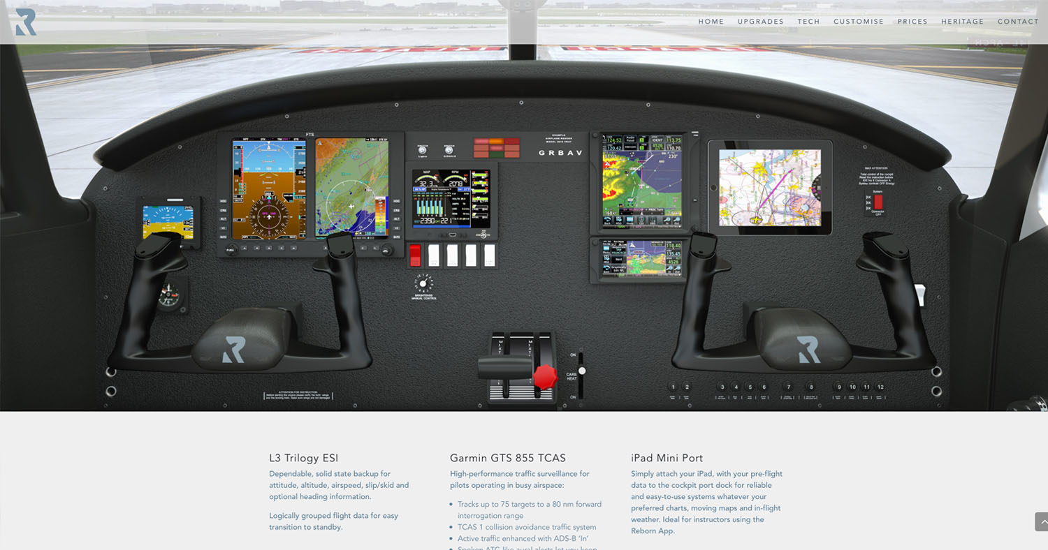 Reborn Aviation Piper Warrior III reimagined dashboard illustration that shows the new tech for modern pilots