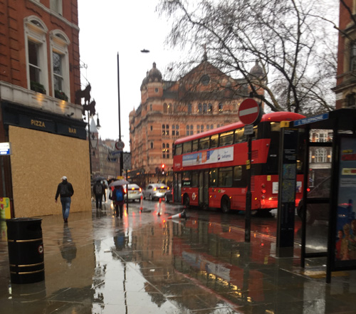 Cambridge Circus in the rain