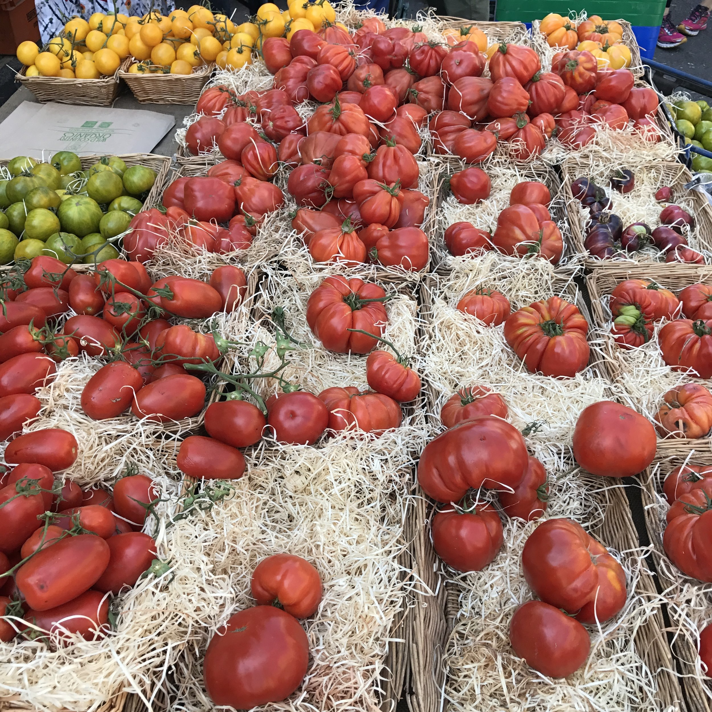 Some beautiful package-free tomatoes at the local farmers market, Chapel Market London