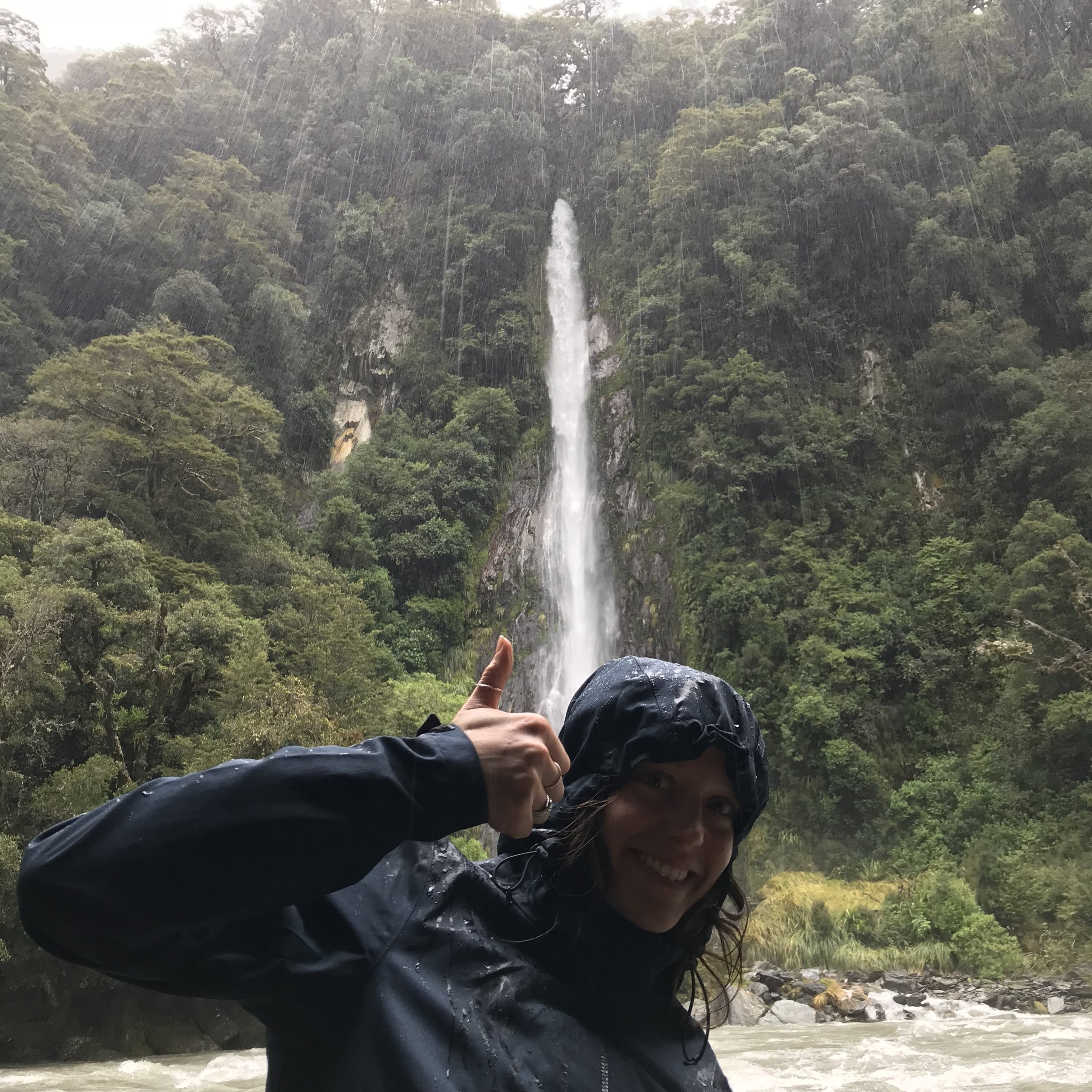 Epic rainfall means epic waterfalls. Here's one during a rain storm along Haast Pass.