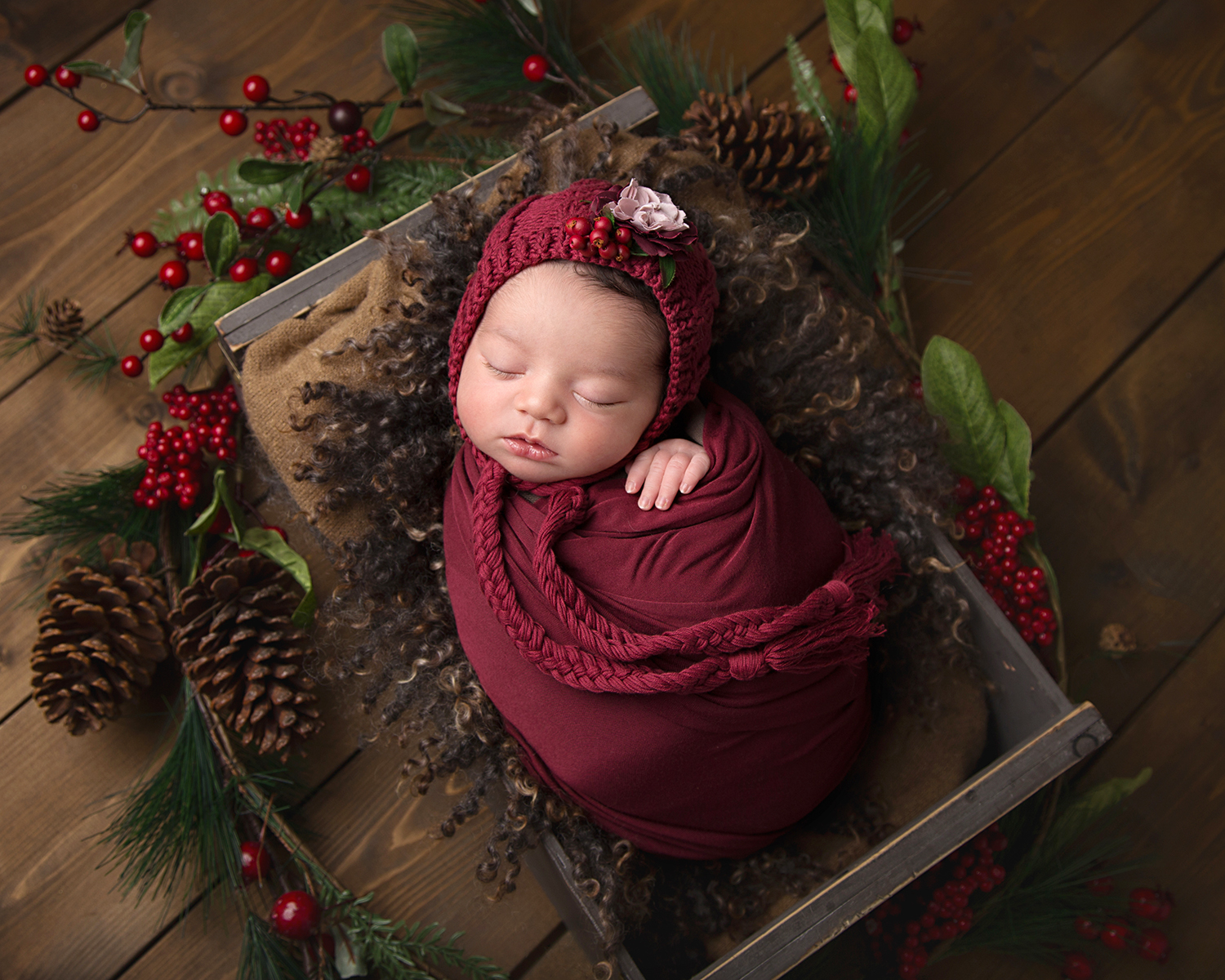 Christmas newborn session in Gloucestershire