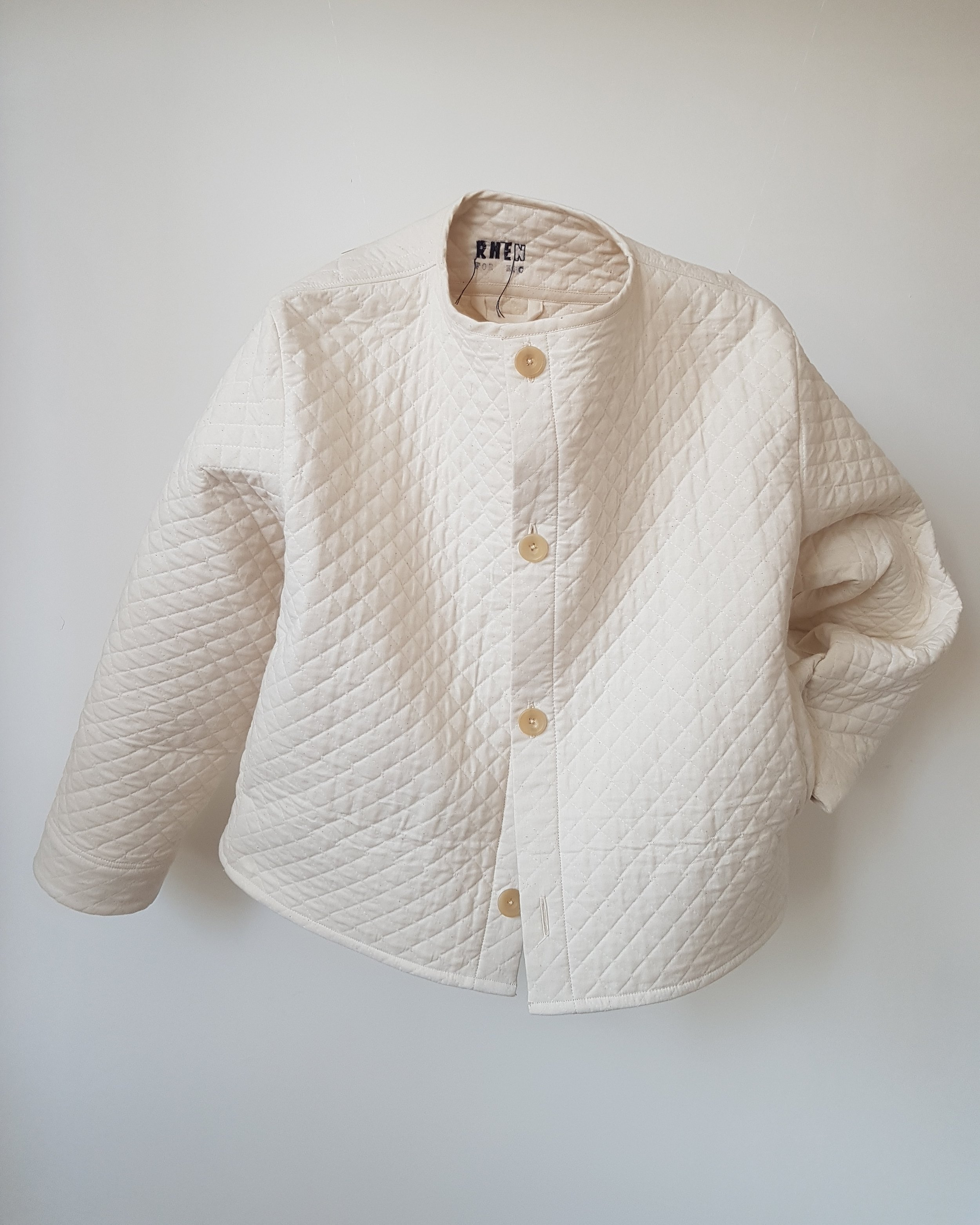 Quilted Cotton Jacket four button. - Made for Kate. March 2018.Japanese quilted cotton with 4 horn buttons and side-seam pockets.