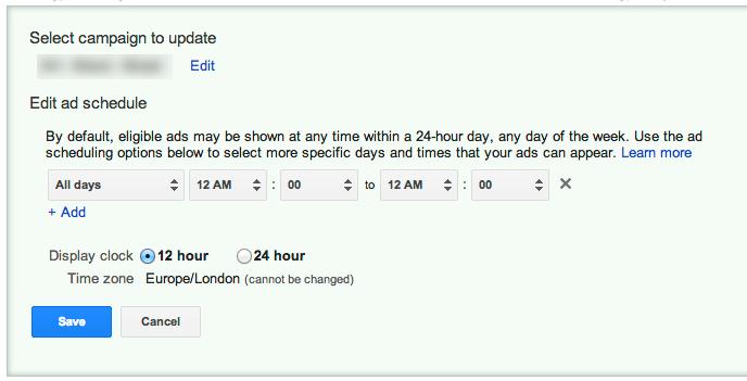Google AdWords Scheduling