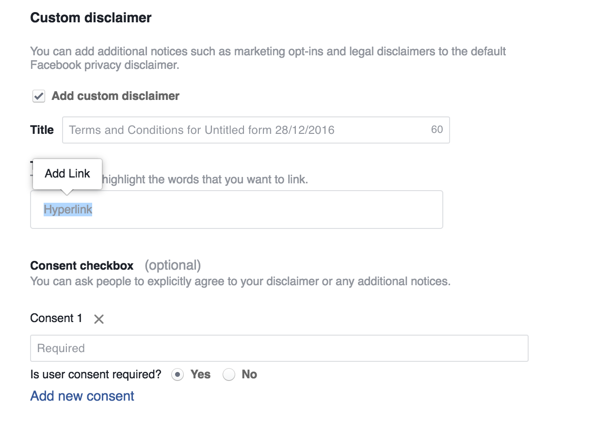 Facebook Lead Ads Custom Disclaimer