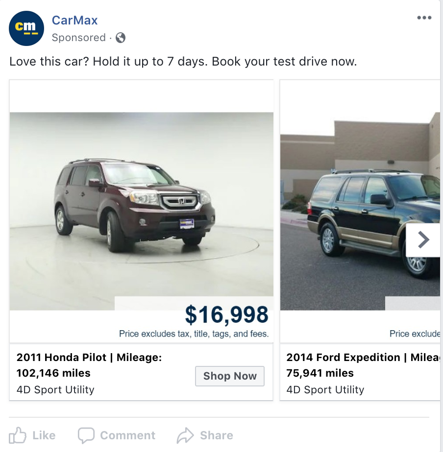 Great example of dynamic advertising for used car dealerships by CarMax