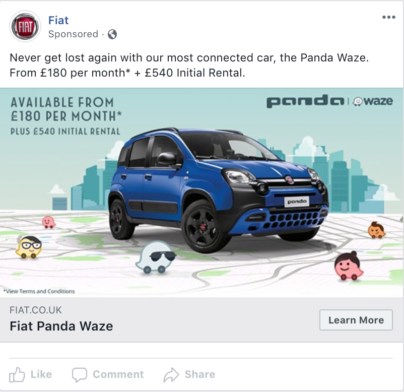Fiat uses Facebook Lead Ads to generate test drive bookings for their Panda Waze model