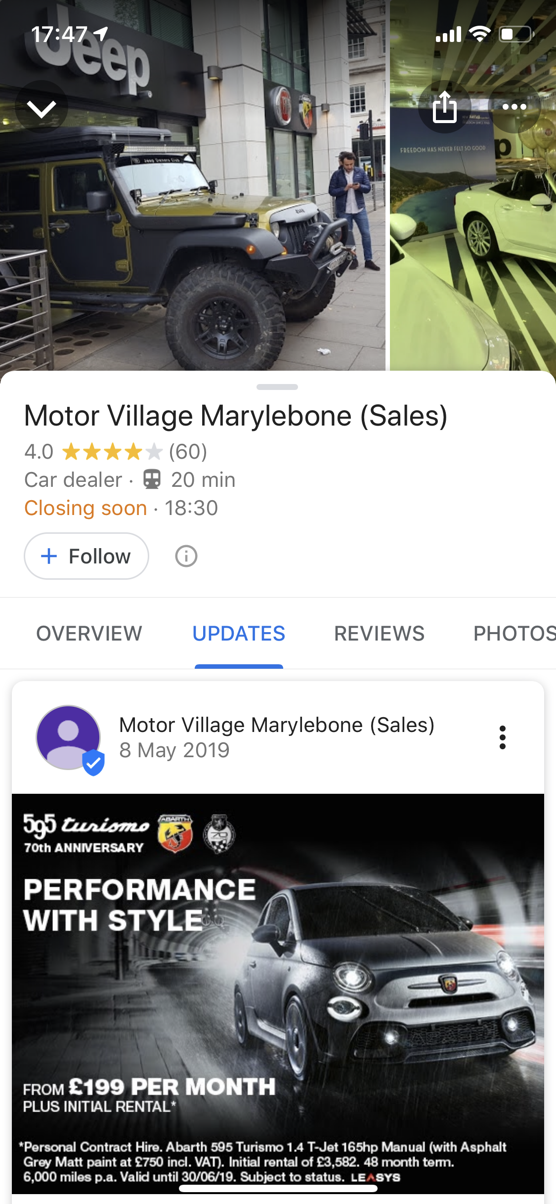 Google My Business posts appear under the Updates section in Google Maps.