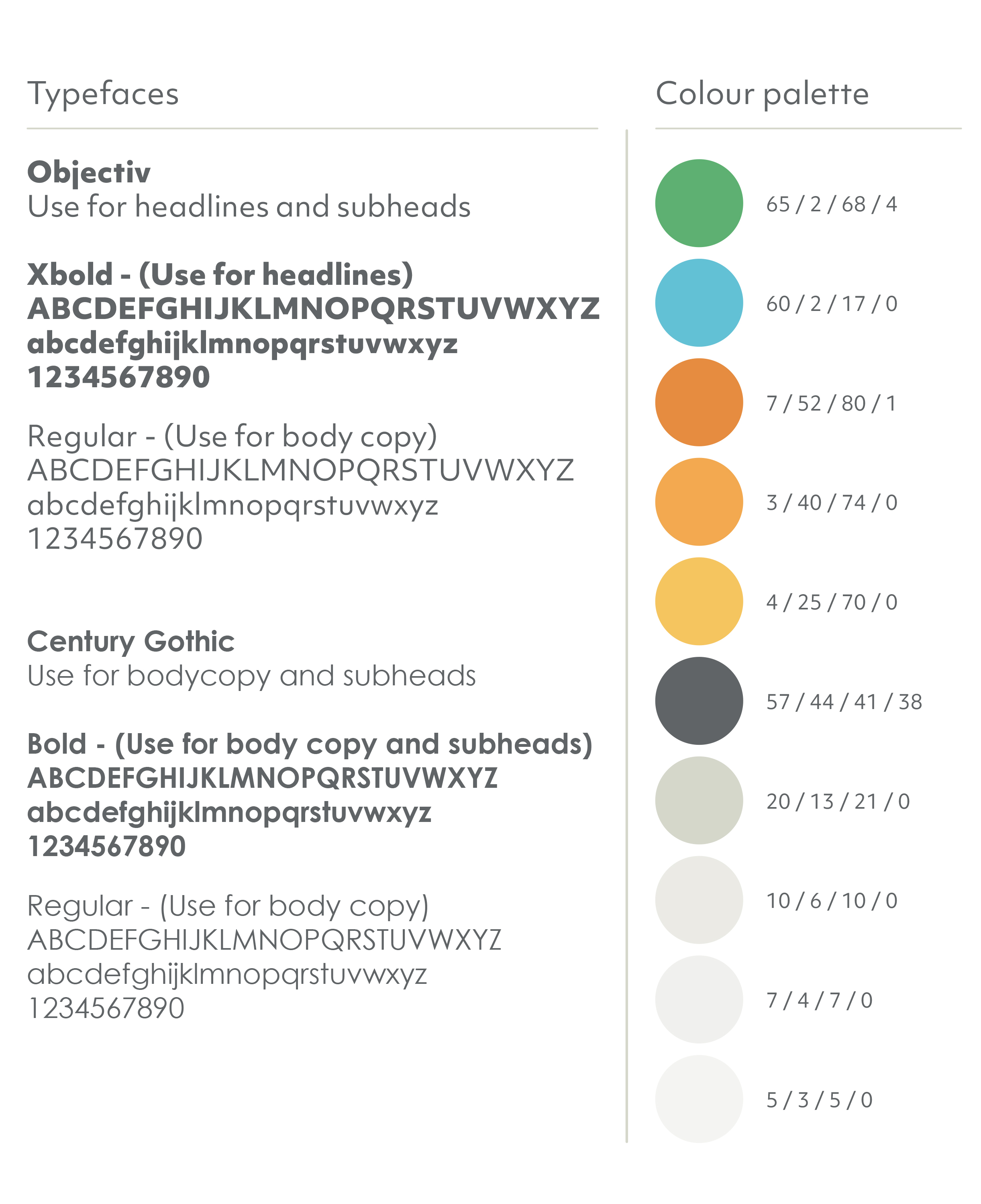 Type and Colour palette