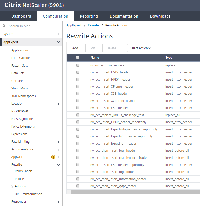NetScaler Rewrite Action in the NetScaler GUI