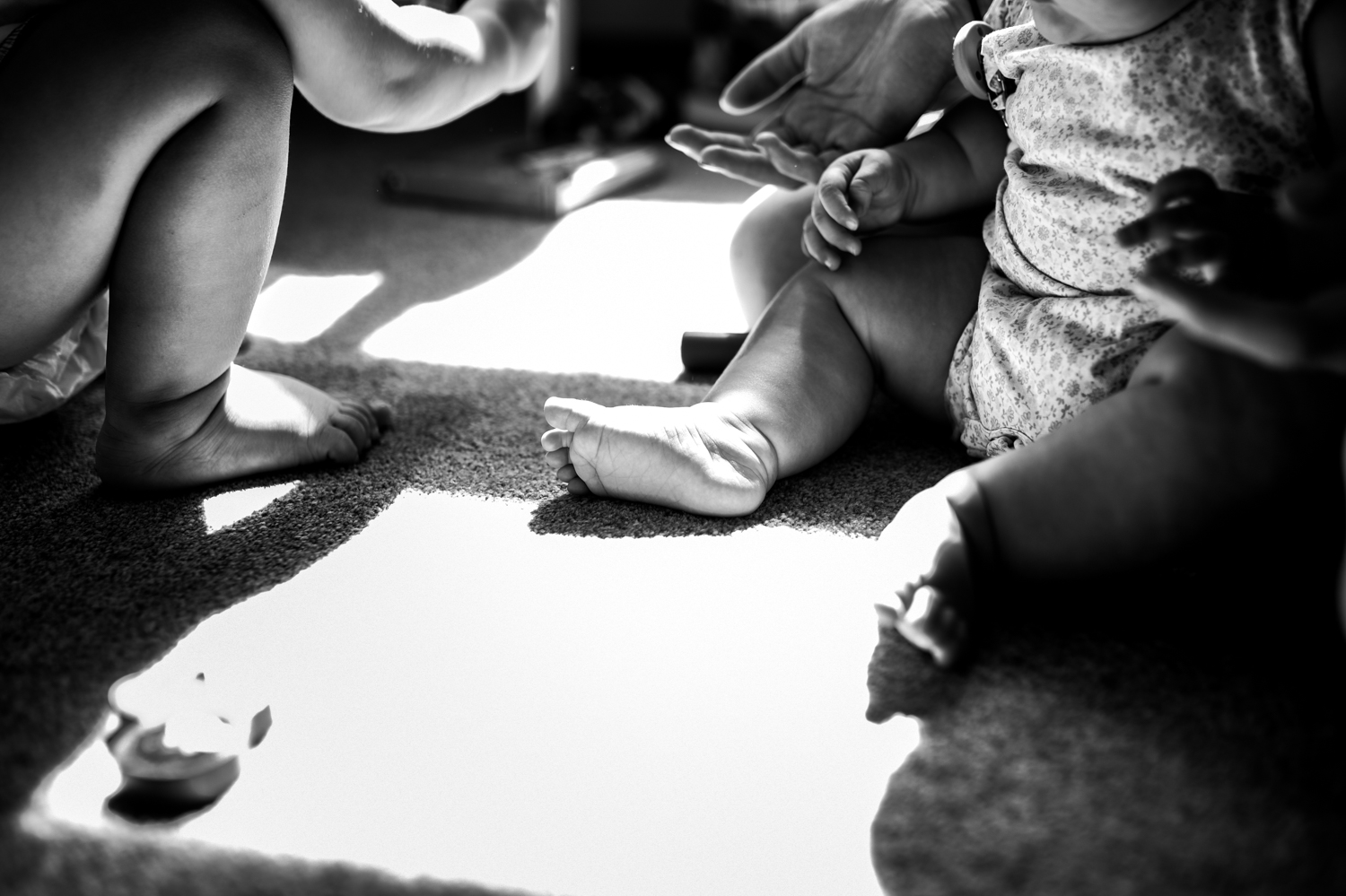 A close up shot of a childrens and mothers feet in black and white with light dappling through the middle.