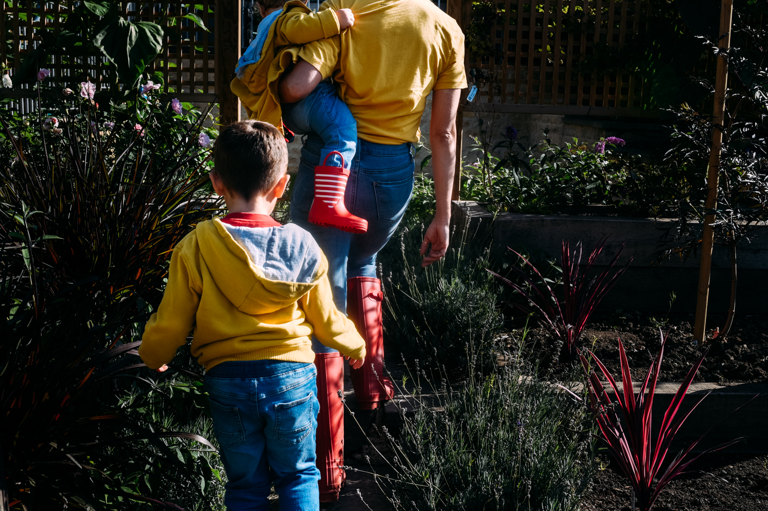 A rear view shot of a mother and her two young sons walking up the garden path.