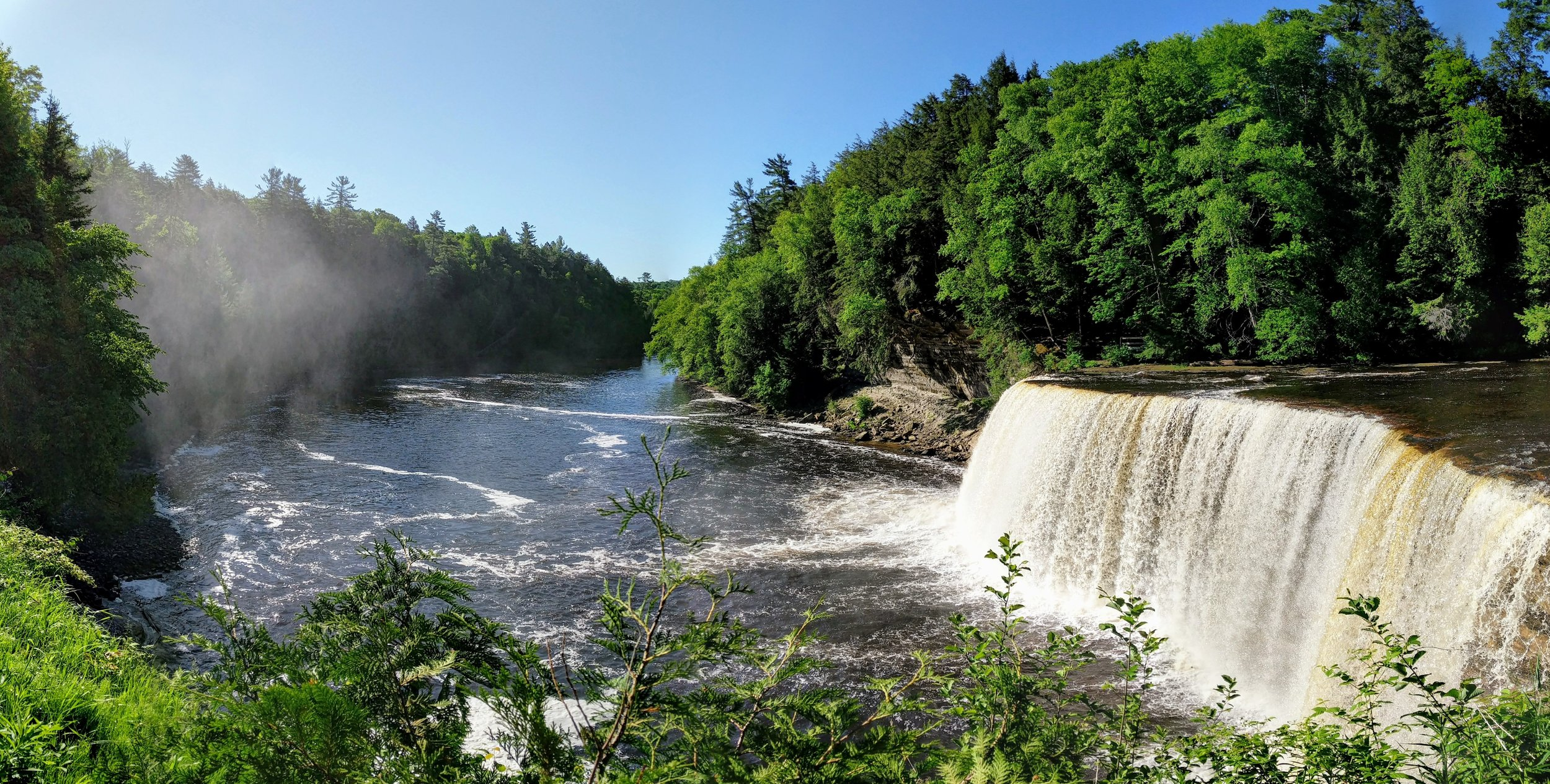 View of the Upper Falls and river from the viewing platform.