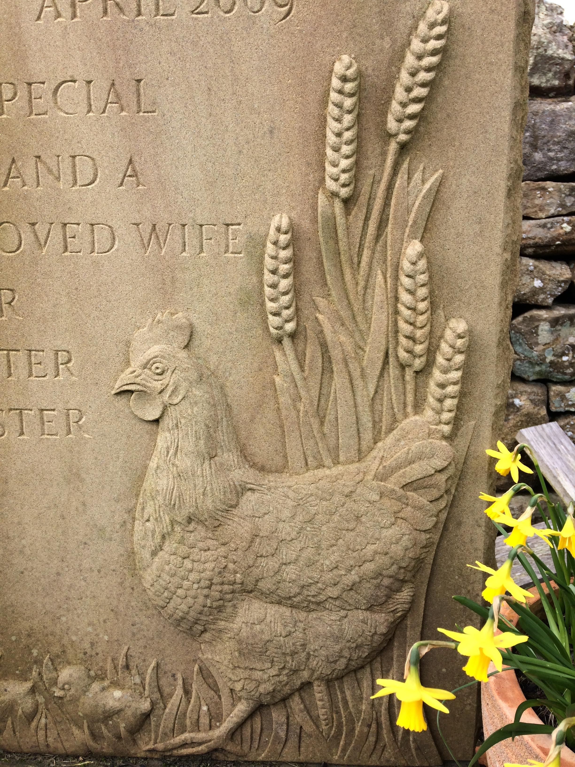 Hen in sandstone