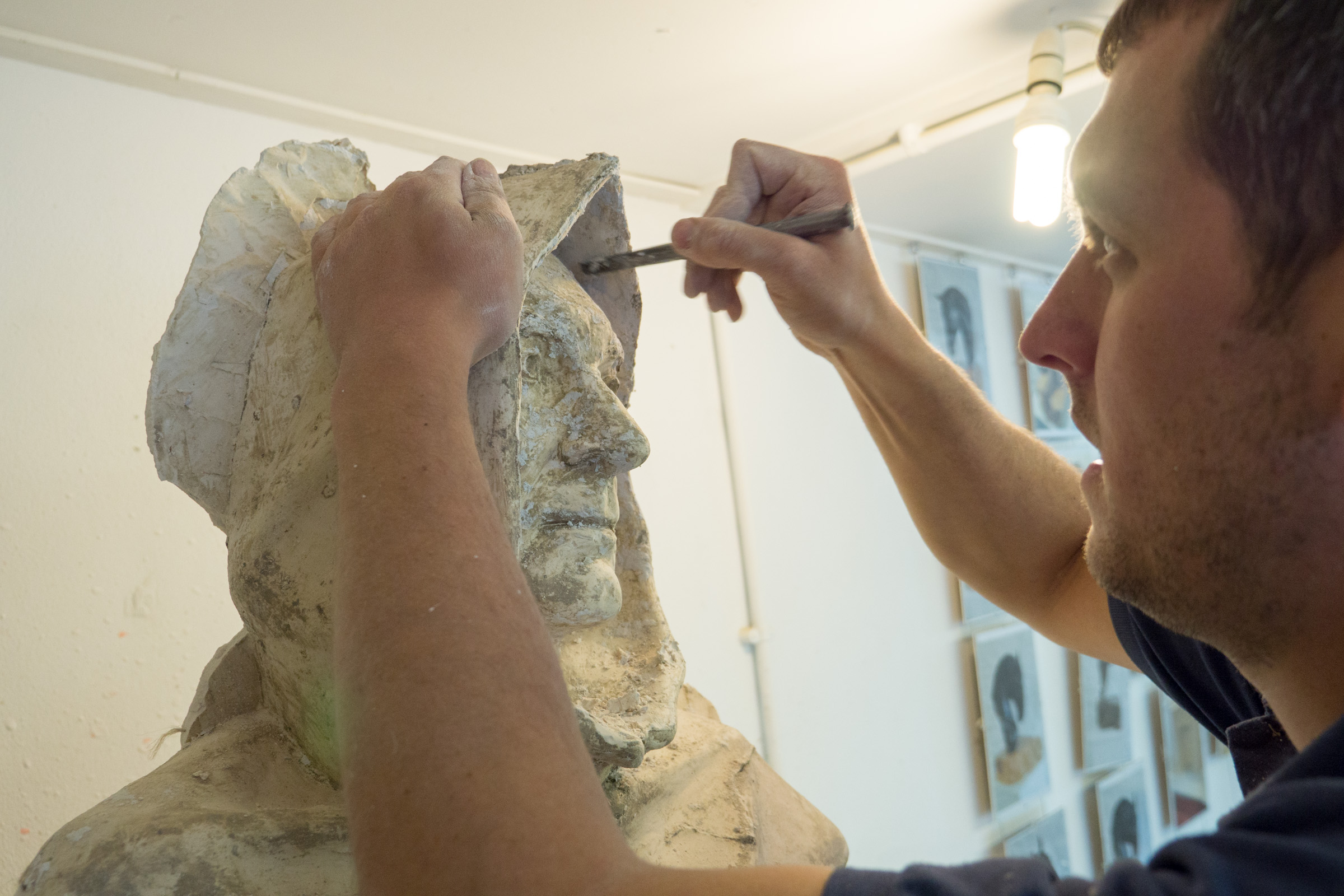 Joseph working plaster model - photo by Paul Harris