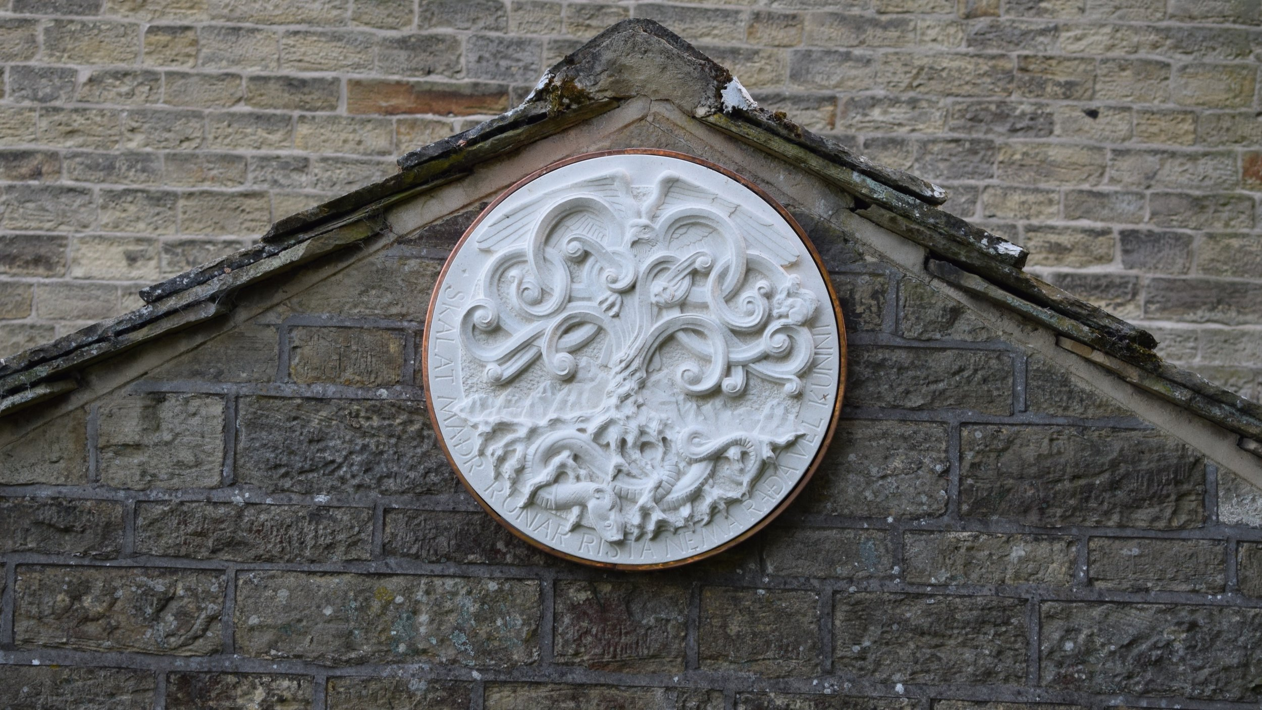 Yggdrasil roundel in copper clad frame
