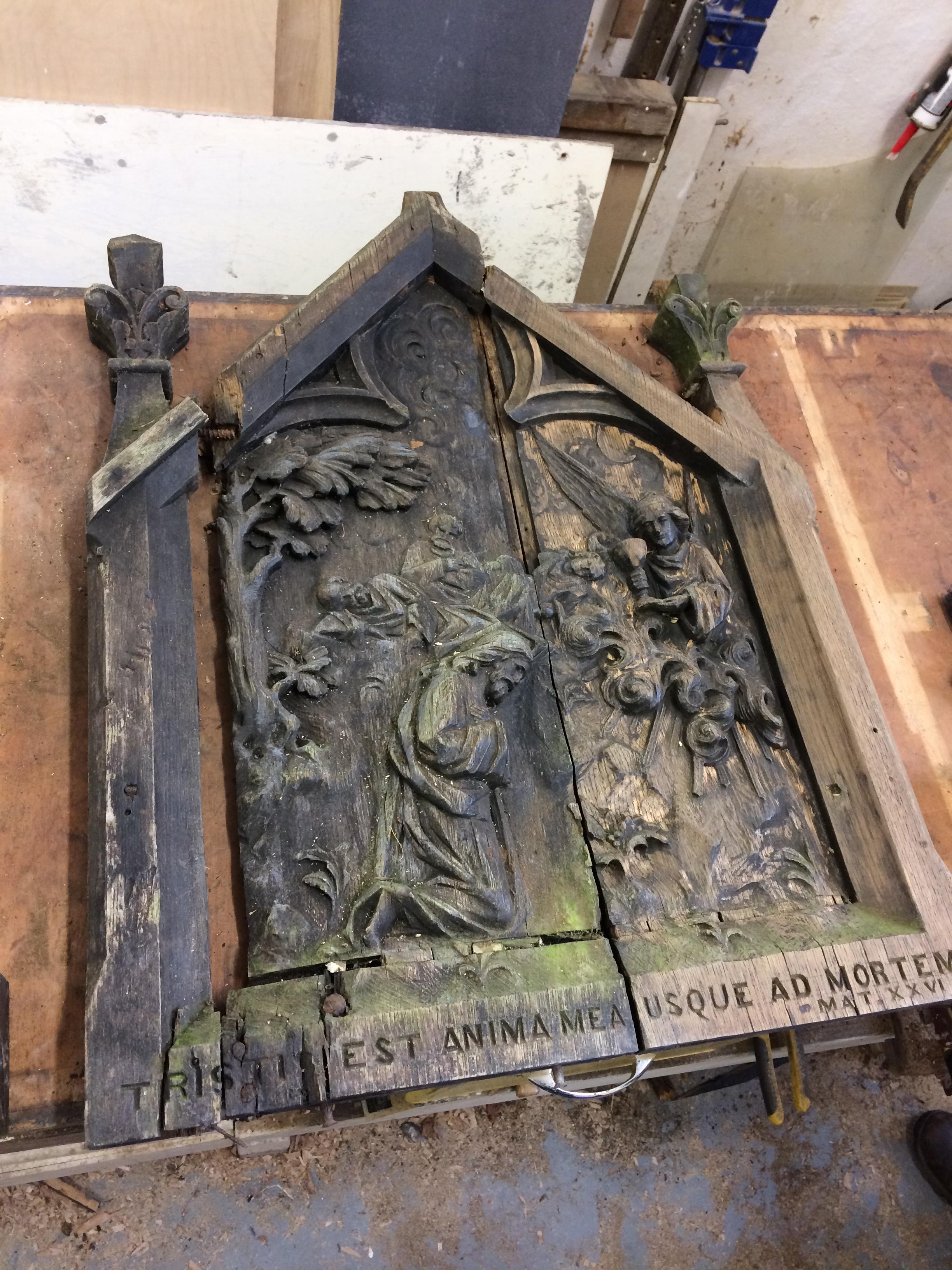 Oak carving - before restoration