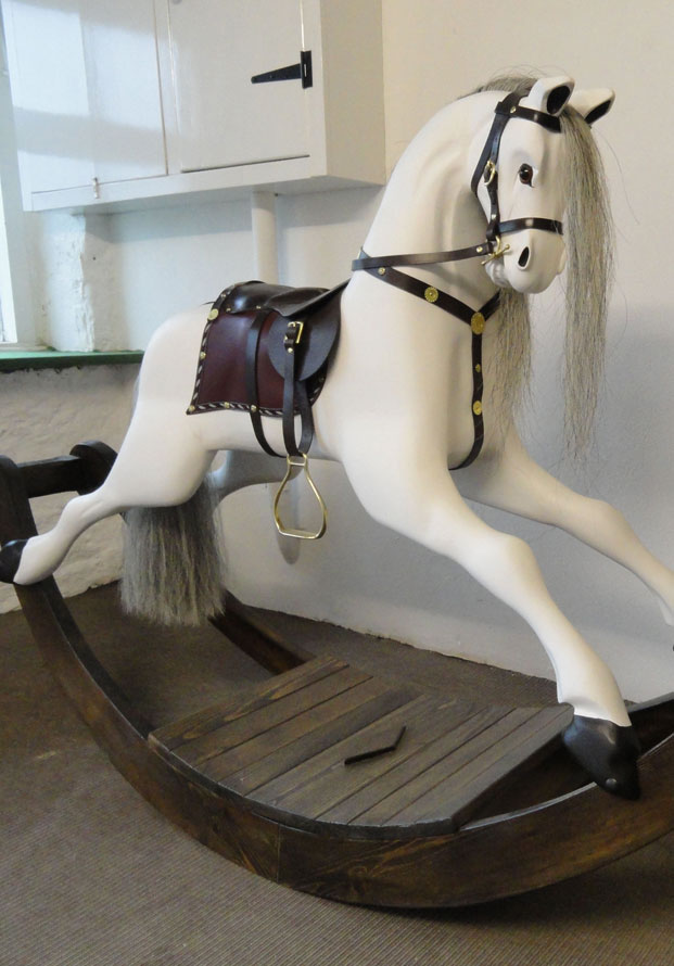 Rocking Horse in Tulip wood, Leather and horse hair