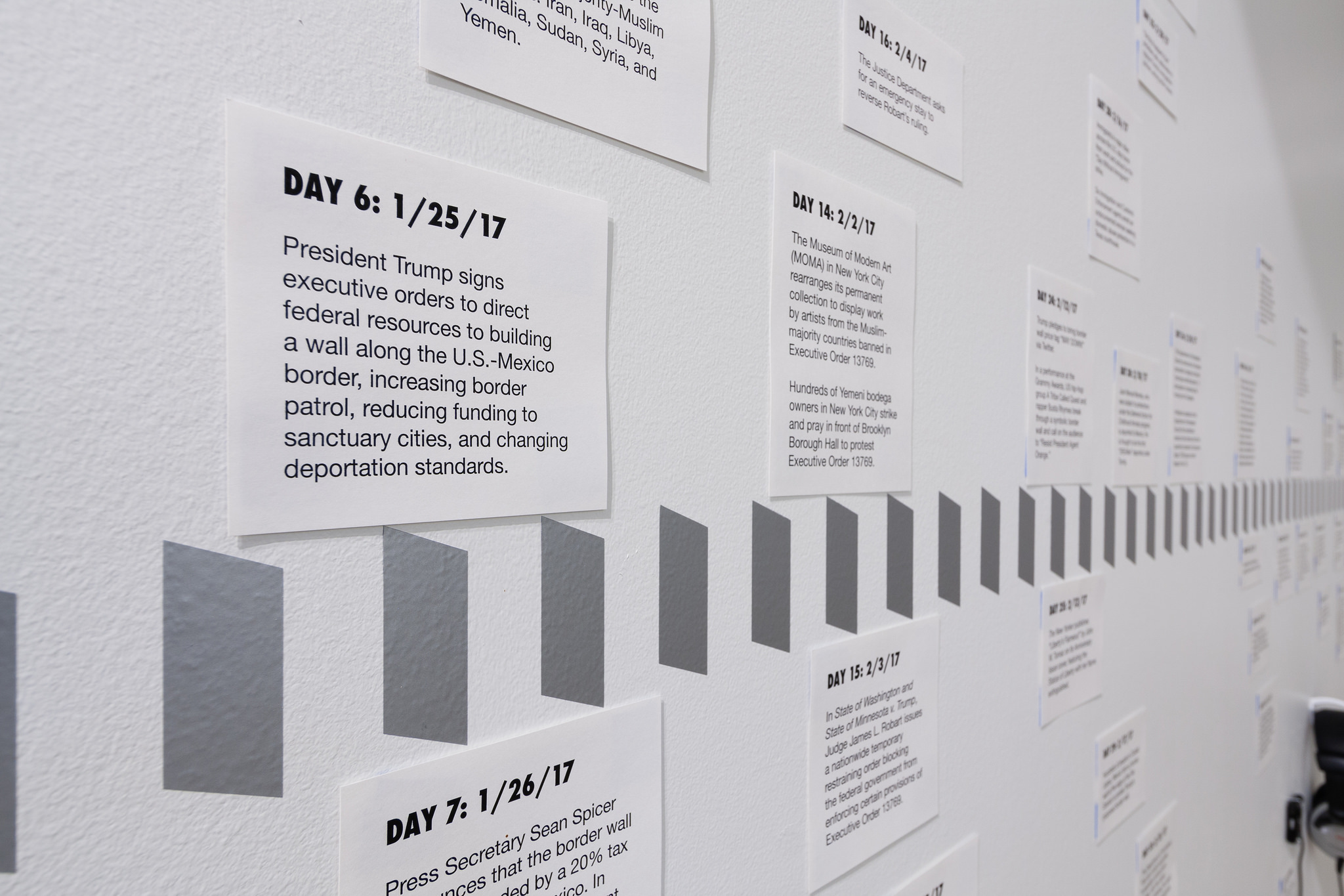 Timeline of the Trump administration's changing immigration policy during his first 100+ days in office.Image by Jerry Mann courtesy of SPACES.