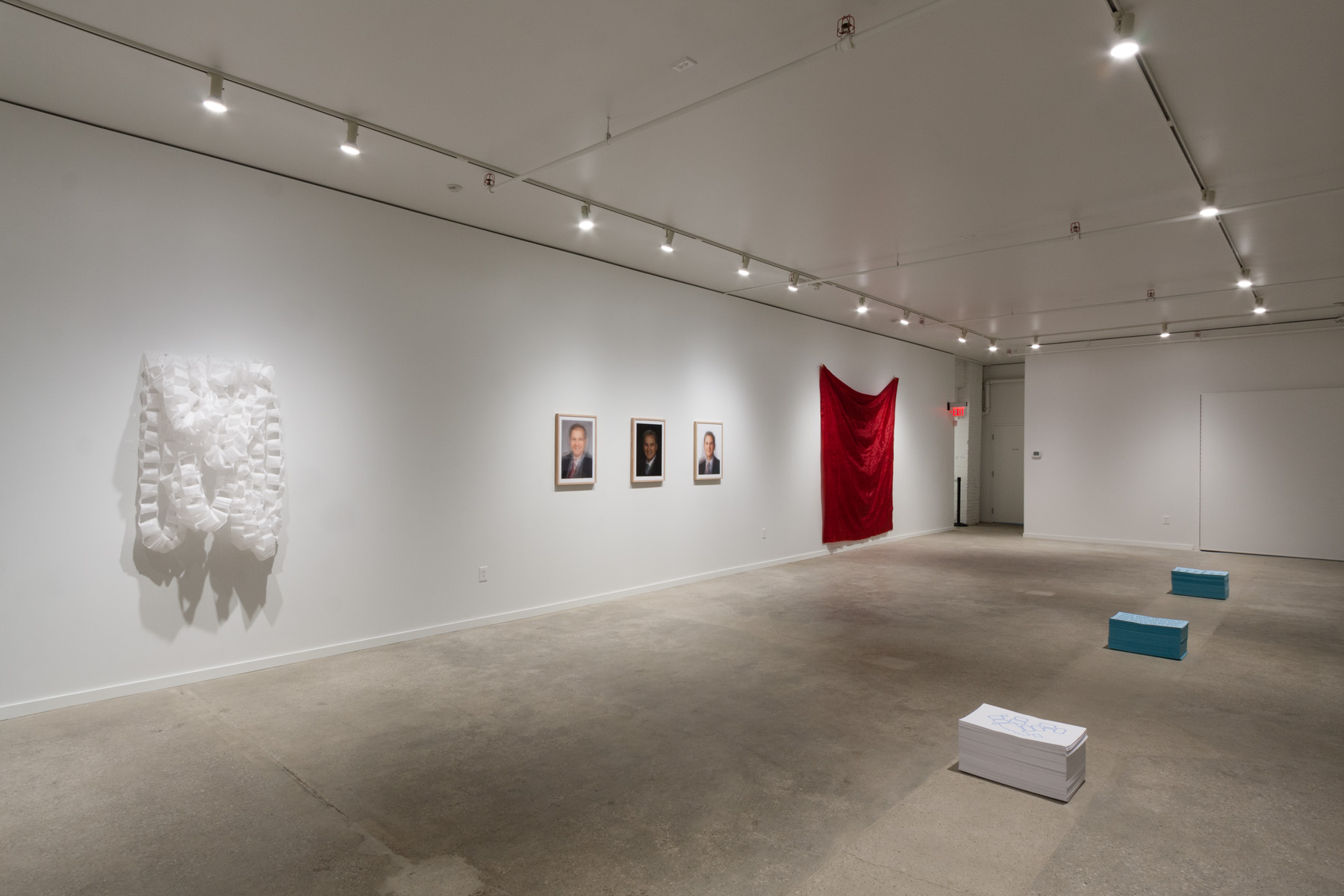 The George Gund Foundation gallery with artwork by Anthony Warnick. Image by Jerry Mann, courtesy of SPACES.