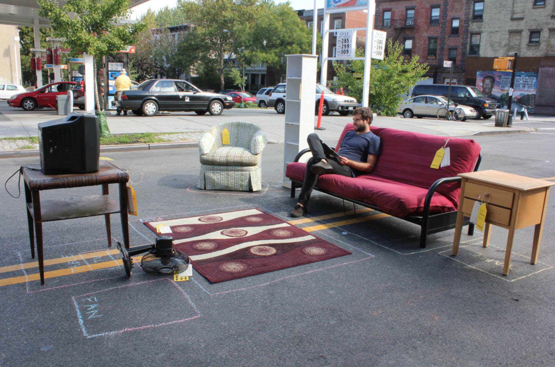 Playlab,  Craigshouse ,installation of free furniture found on Craigslist / start of day