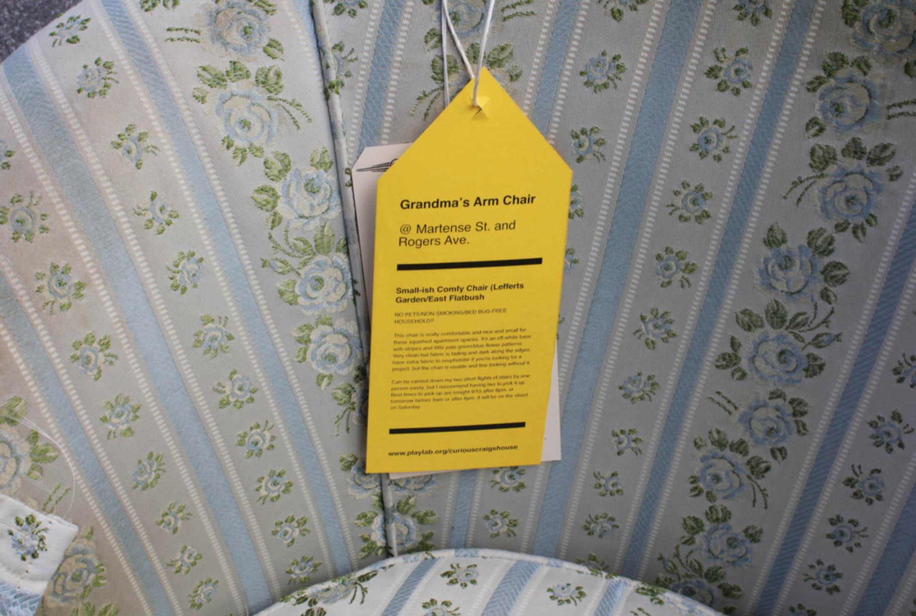 Playlab,  Craigshouse ,installation of free furniture found on Craigslist / furniture tag