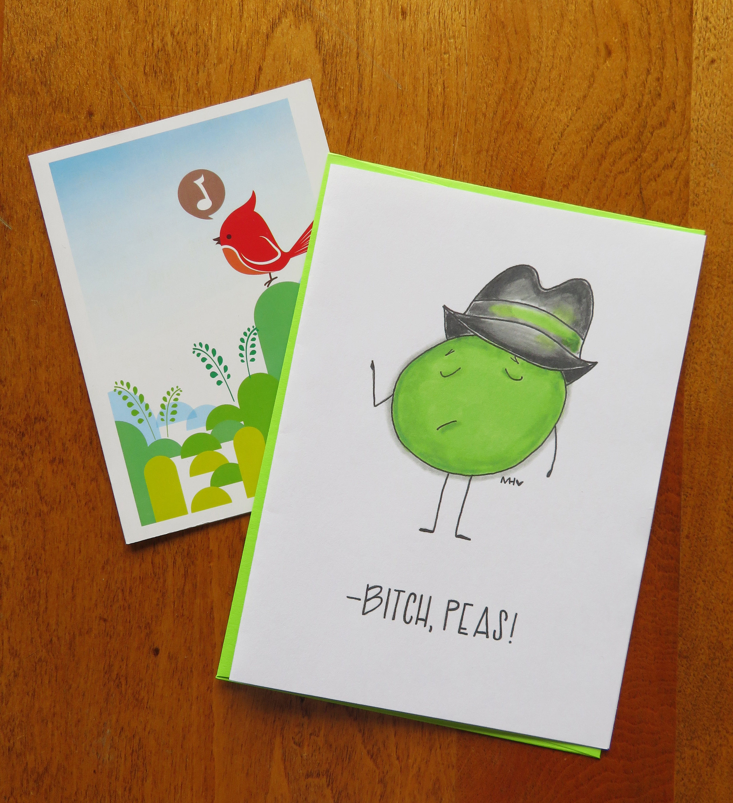 Bird card from Aglomera and            Bitch Peas card from Made in Happy