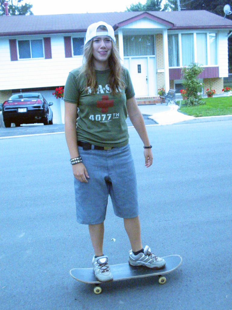 I went through a skater phase in my late teens/ early 20s, where I thought I could skateboard.                   I made those shorts from a pair of secondhand old man pants!