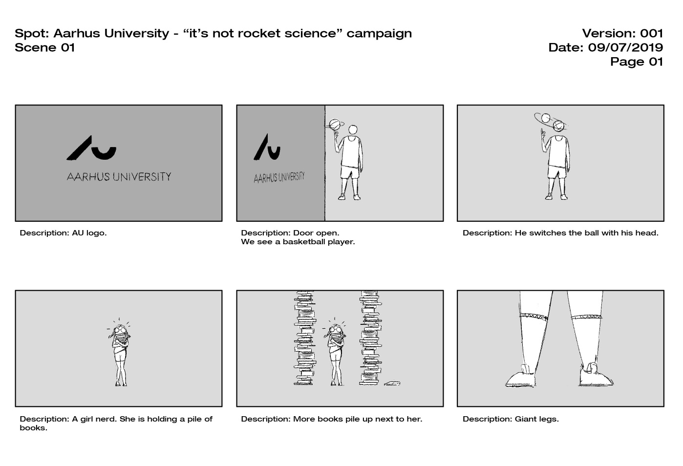 Storyboards and preliminary concepts.